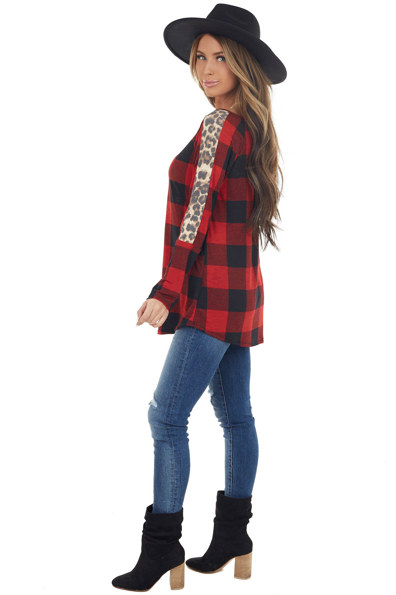 Cherry Red and Black Buffalo Plaid Top with Leopard Print