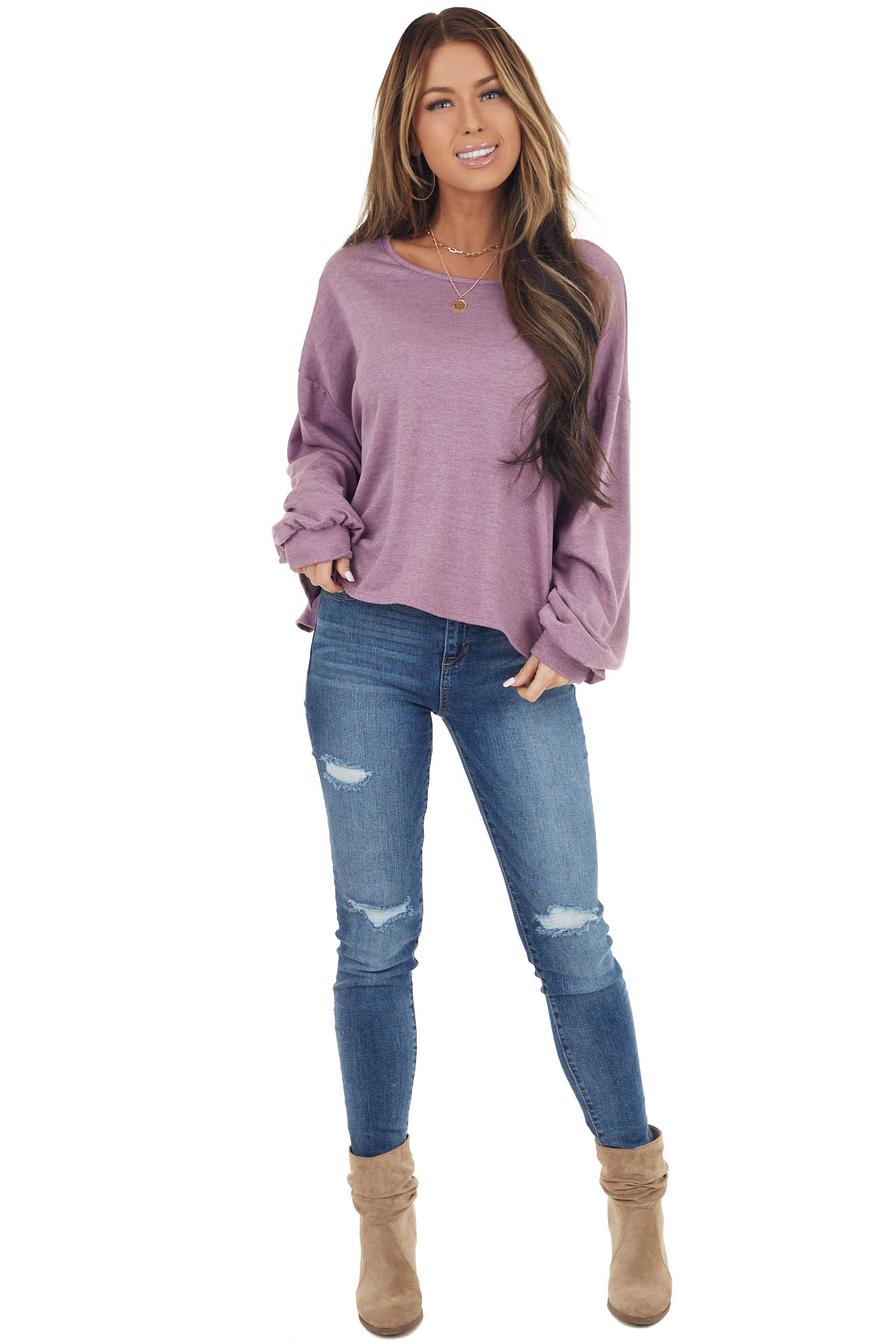Lavender Long Sleeve Knit Top with Drawstring Back Detail