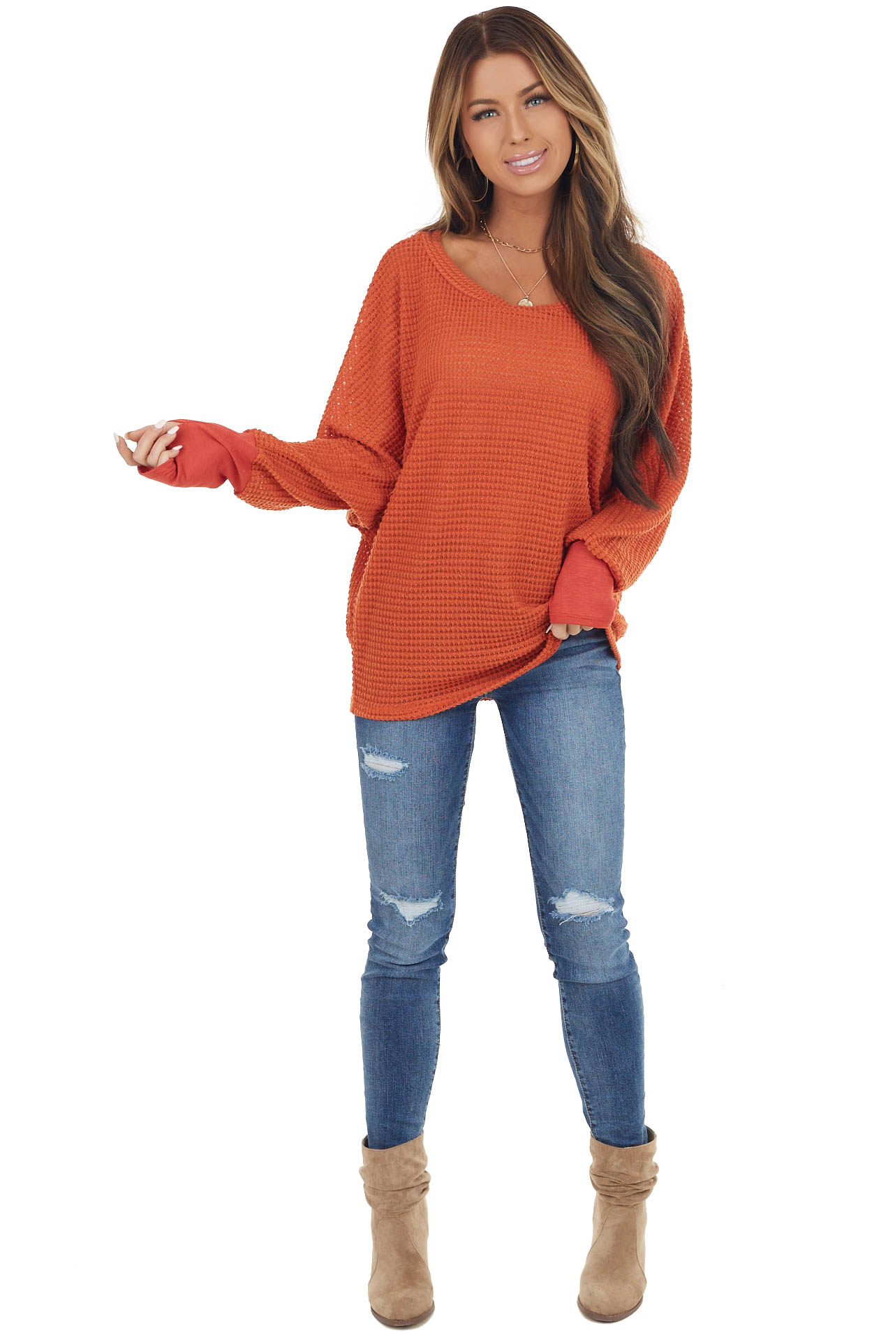 Rust Waffle Knit Dolman Sleeve Top with Long Banded Cuffs