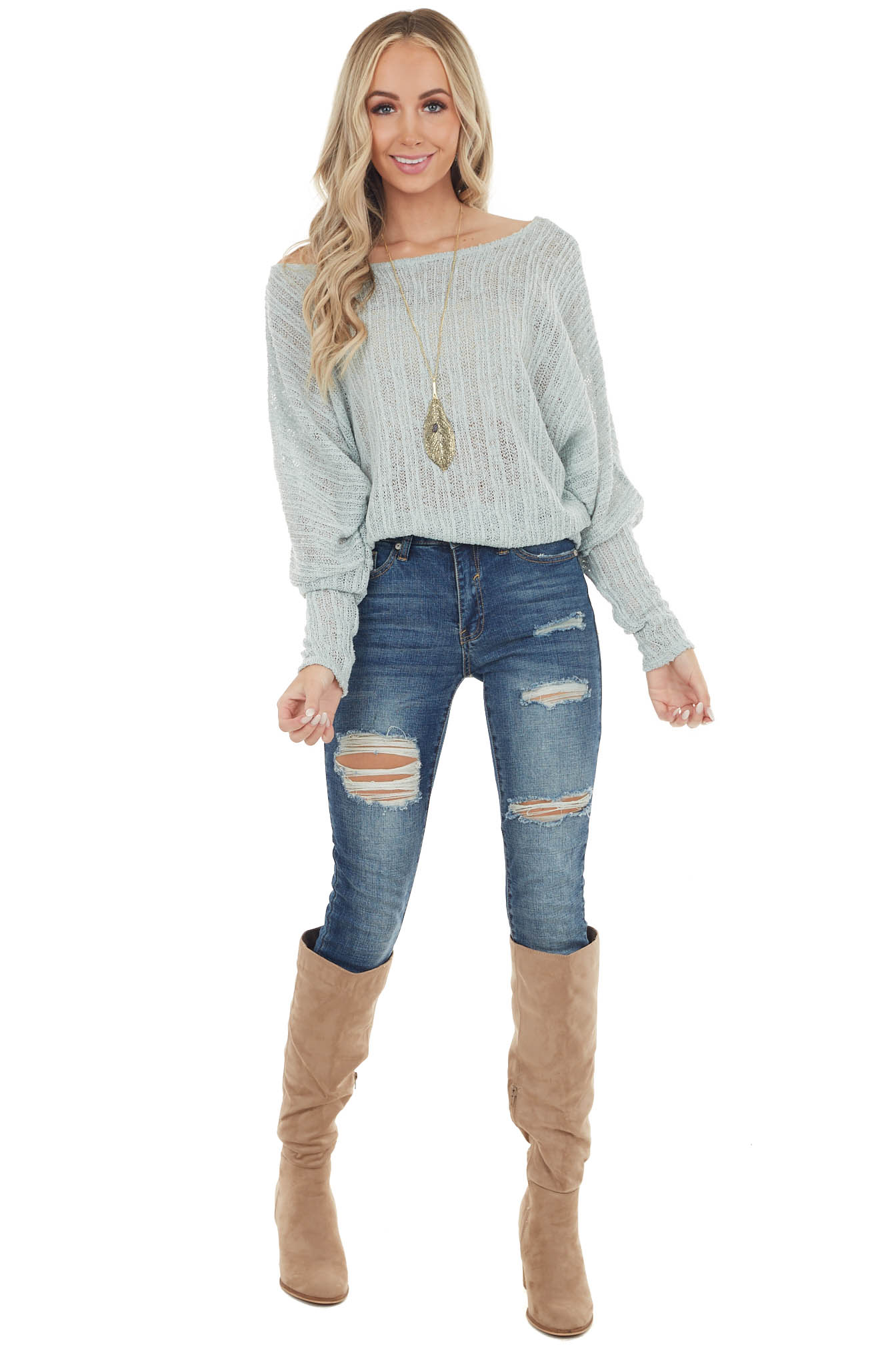Sage Loose Knit Boat Neck Top with Dolman Sleeves