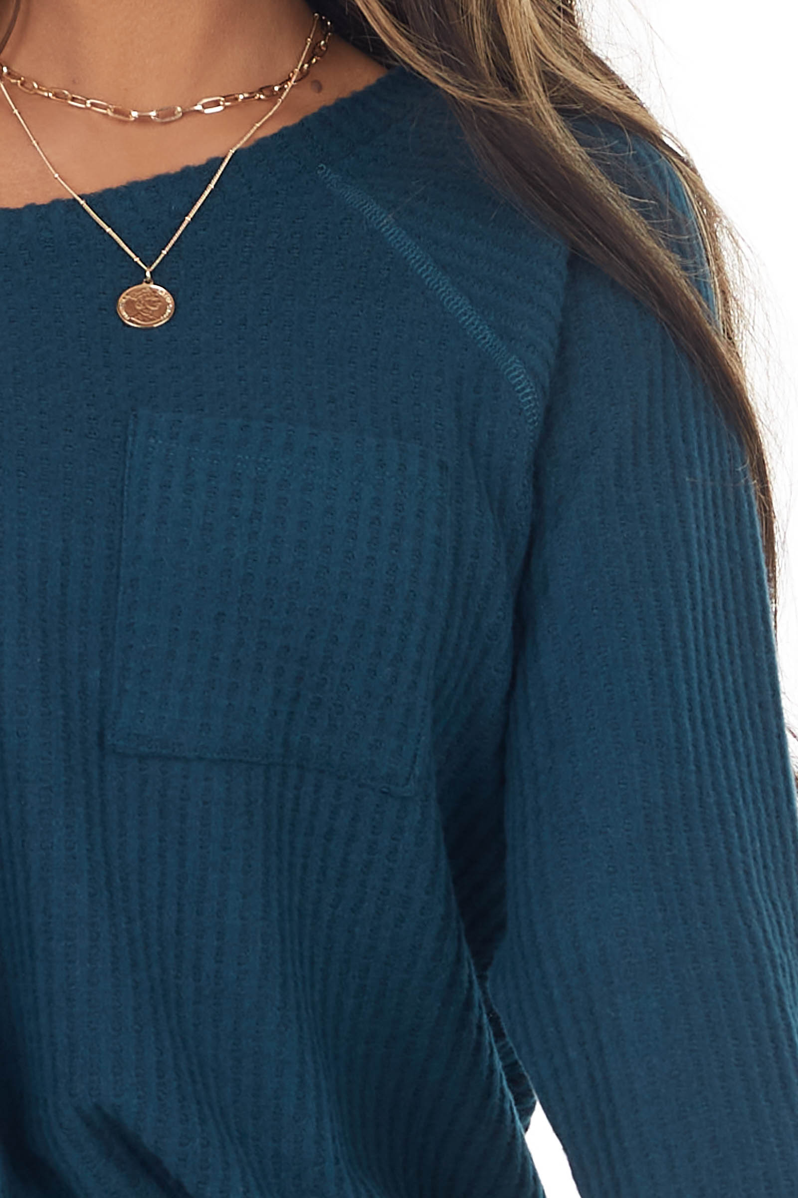 Dark Pine Long Sleeve Waffle Knit Top with Front Pocket