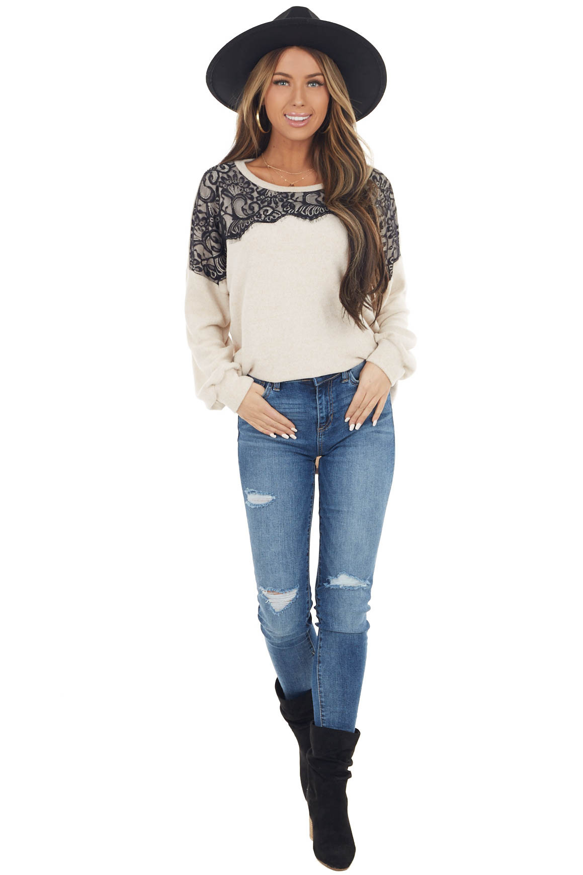 Oatmeal Long Sleeve Lightweight Sweater with Lace Detail