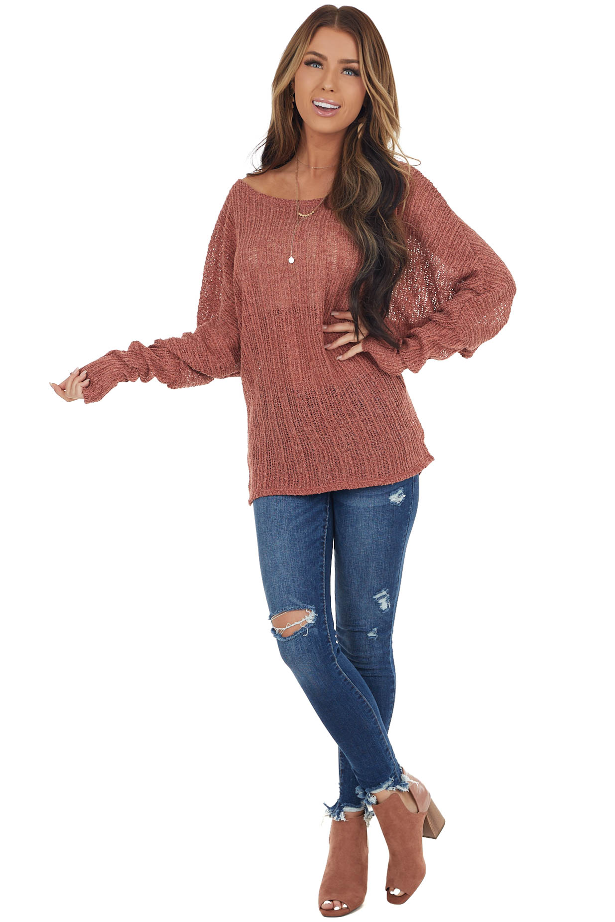 Marsala Loose Knit Off Shoulder Top with Dolman Sleeves