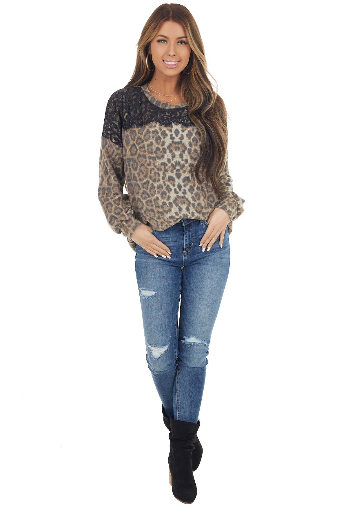 Faded Cognac Leopard Print Long Sleeve Top with Lace Detail
