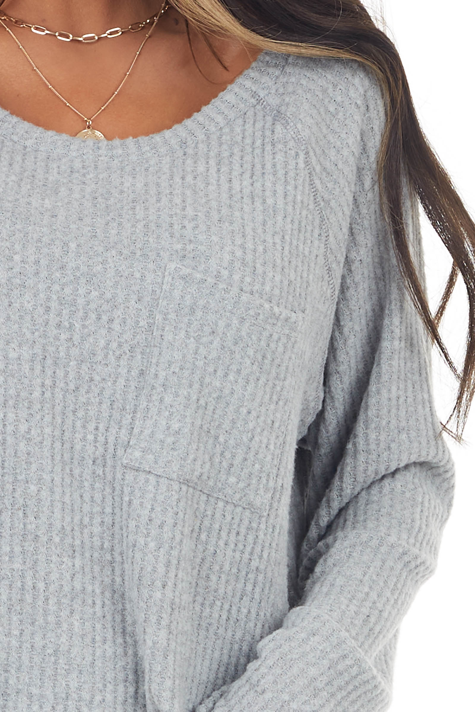 Heather Grey Long Sleeve Waffle Knit Top with Front Pocket