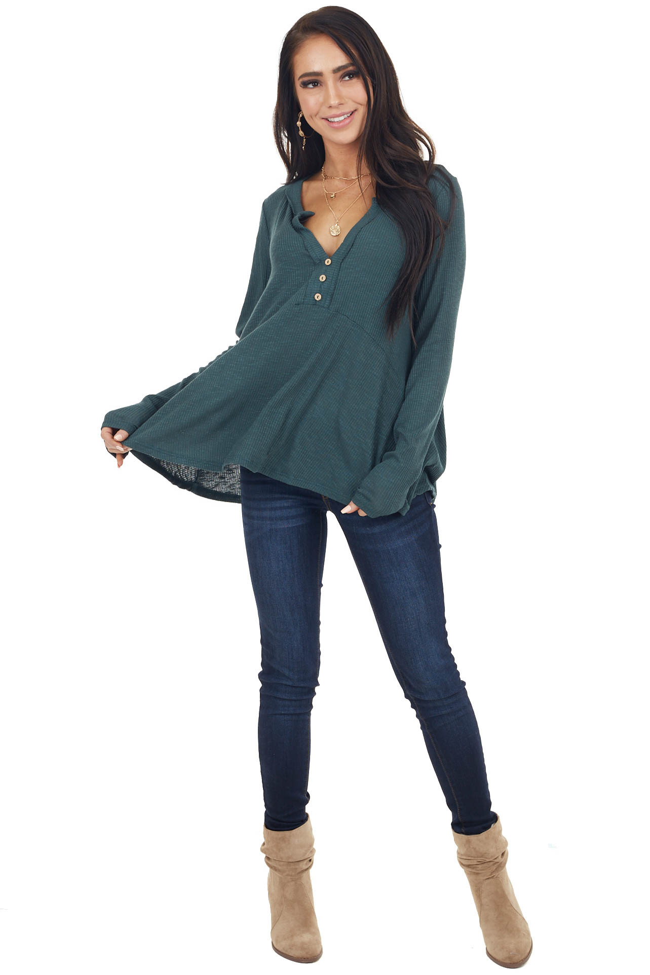 Hunter Green Notch Neck Babydoll Knit Top with Button Detail