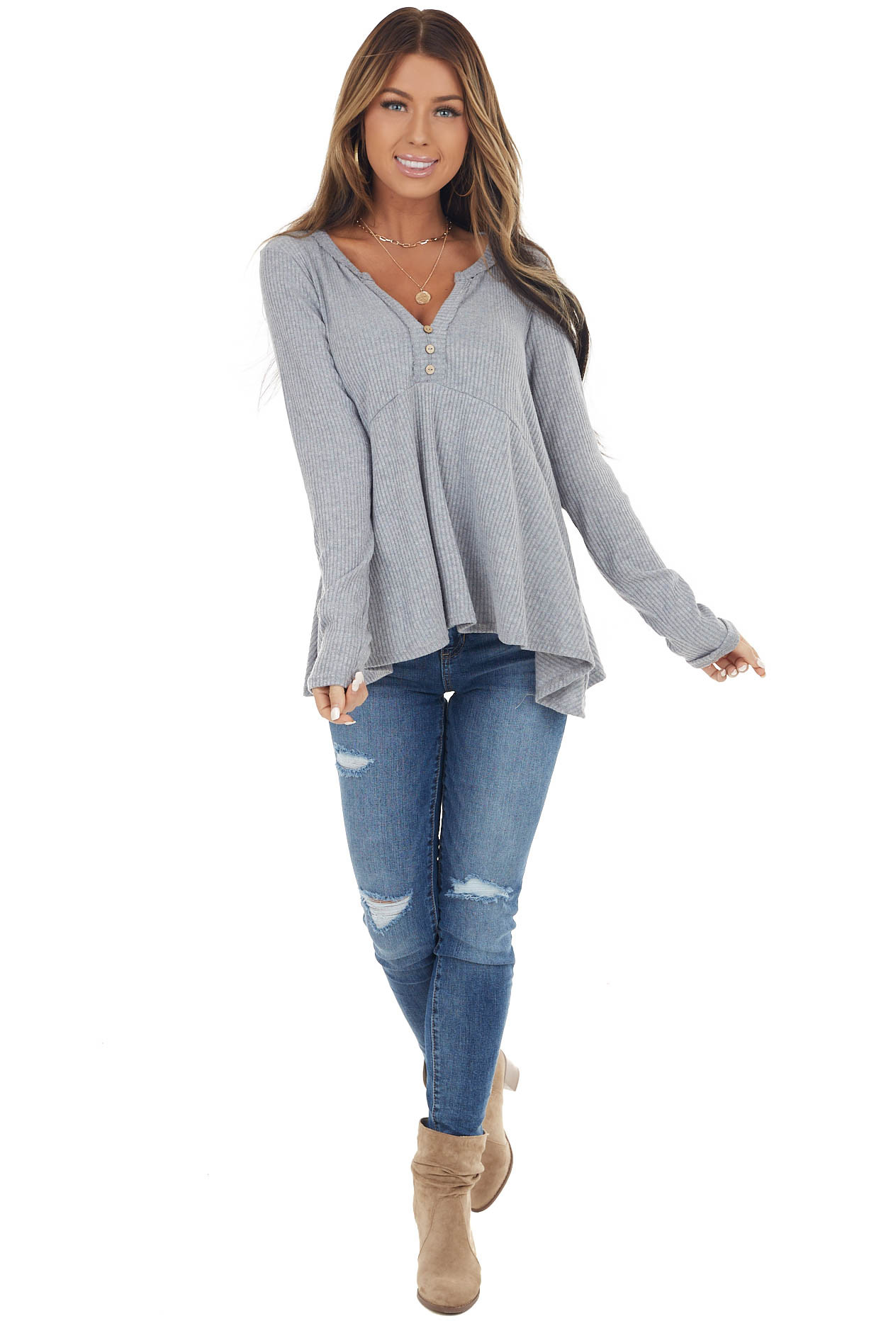 Dove Grey Notch Neck Babydoll Knit Top with Button Detail