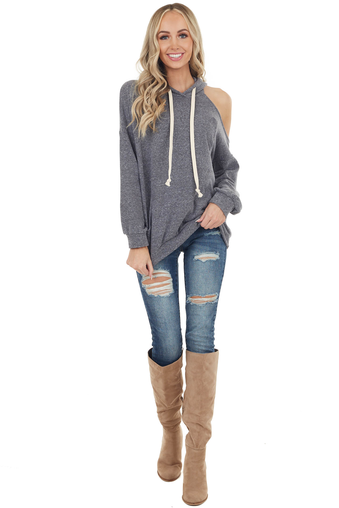 Heathered Charcoal Fleece Lined Hoodie with Cold Shoulder
