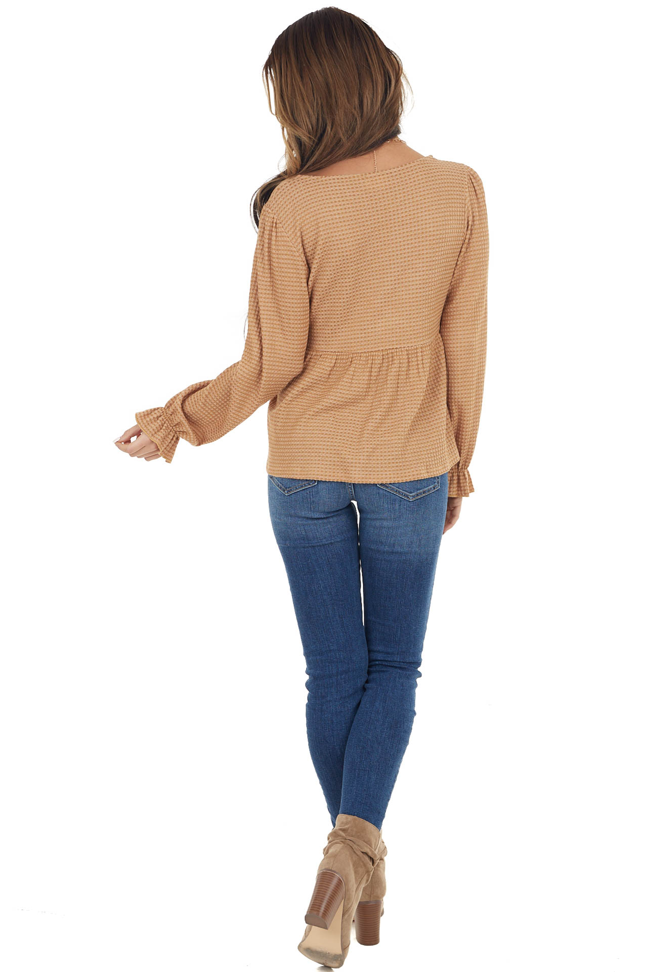 Camel Babydoll Waffle Knit Top with Front Tie Detail
