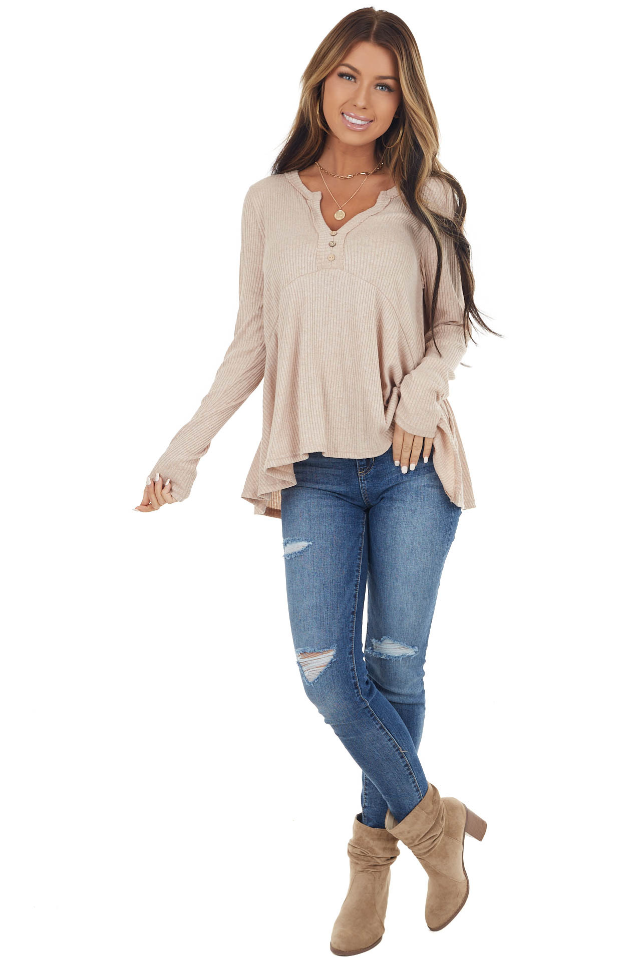 Sand Notch Neck Babydoll Knit Top with Button Detail