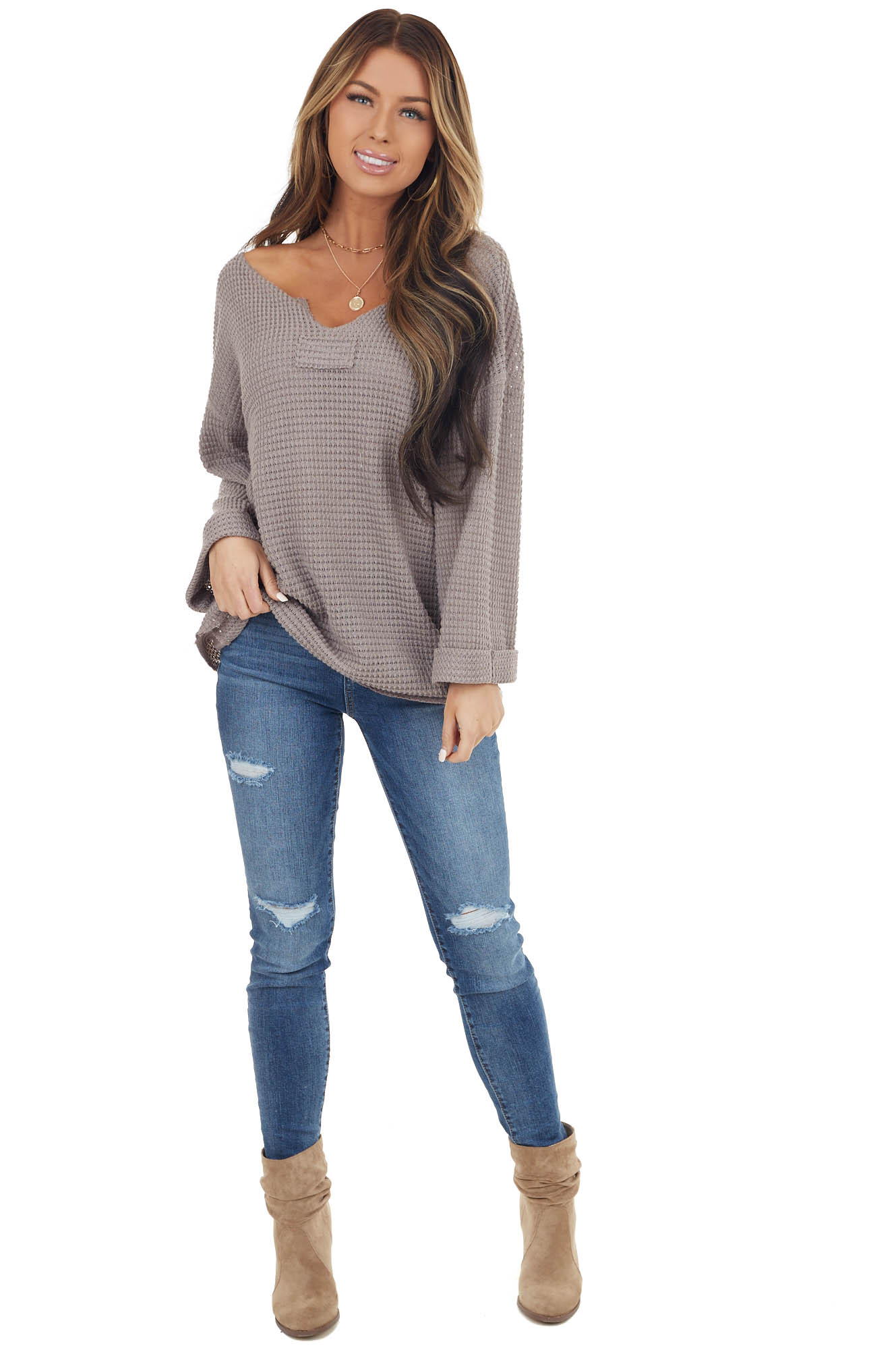 Taupe Waffle Knit Notch Neck Top with Loose Long Sleeves