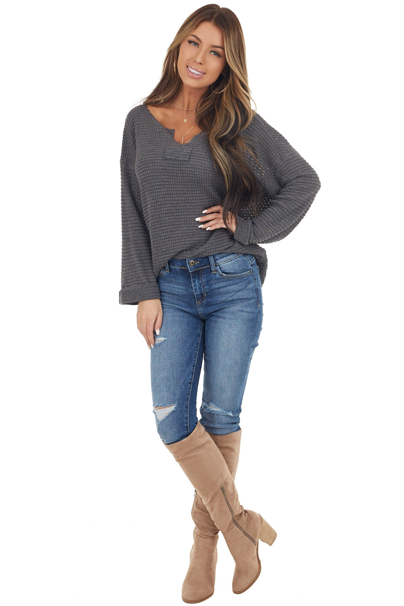 Charcoal Grey Waffle Knit Notch Neck Top with Loose Sleeves