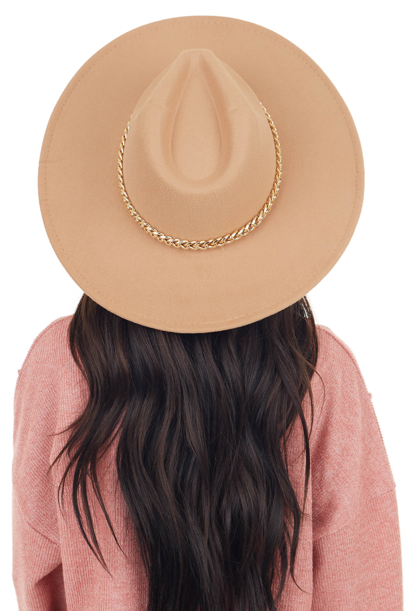 Camel Felt Flat Brim Western Style Hat with Chain Detail