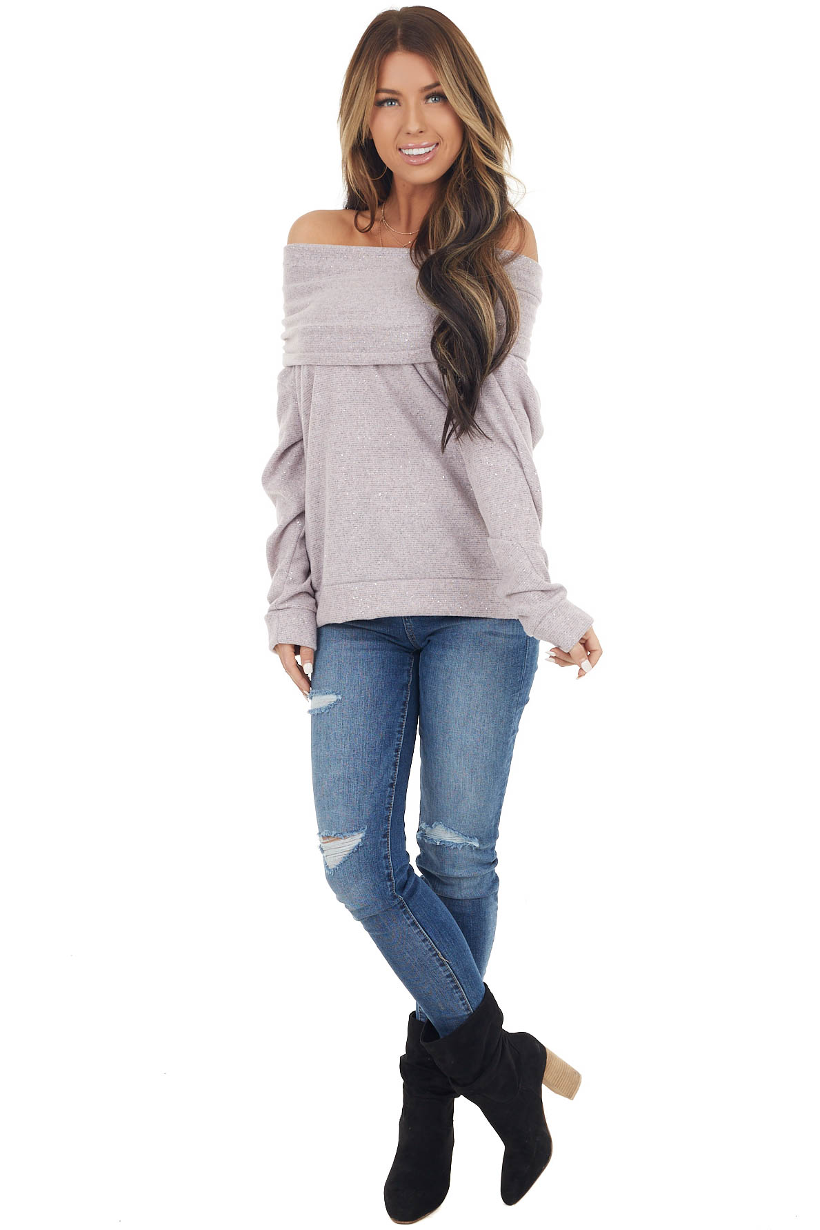 Light Mauve Sparkly Off Shoulder Lightweight Sweater