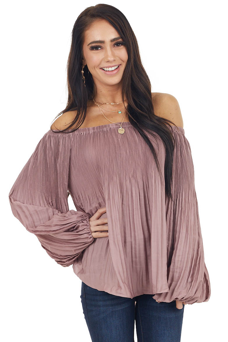 Dusty Rose Pleated Off Shoulder Blouse with Bubble Sleeves