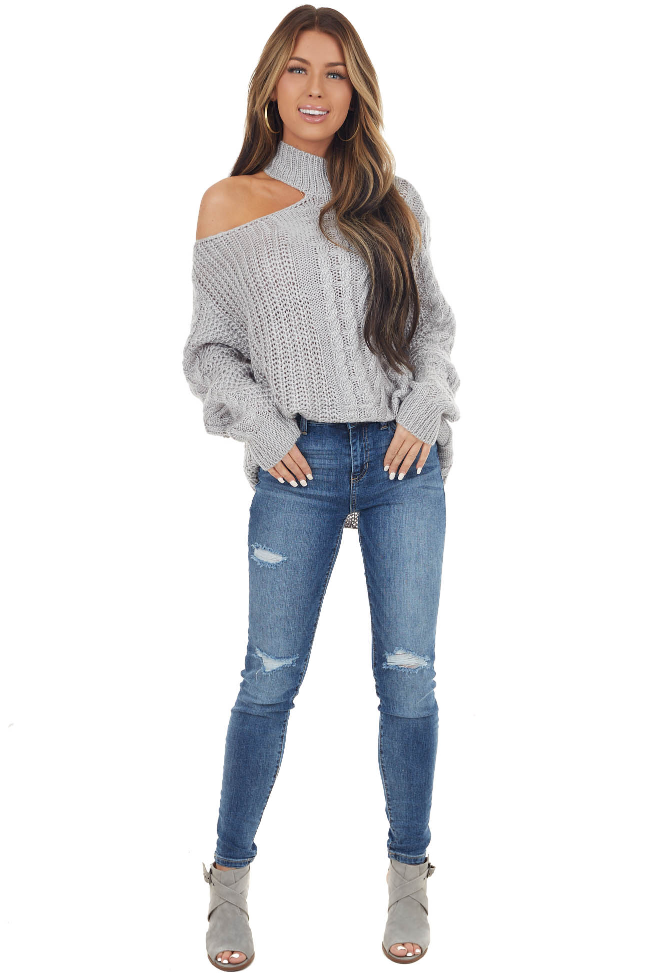 Grey Chunky Knit Sweater with Mock Neck and Cold Shoulder