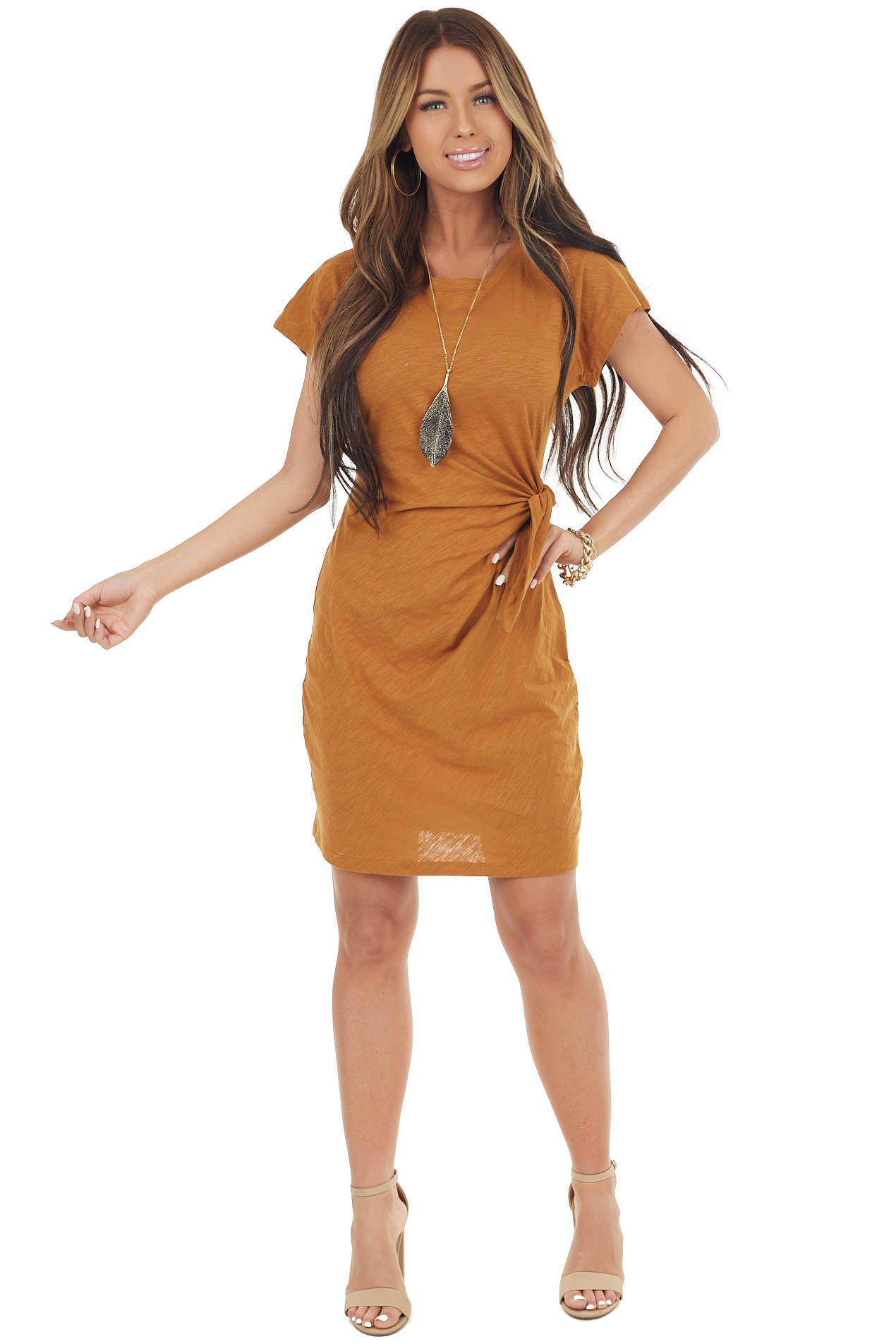Caramel Short Sleeve Knit Dress With Side Tie Detail