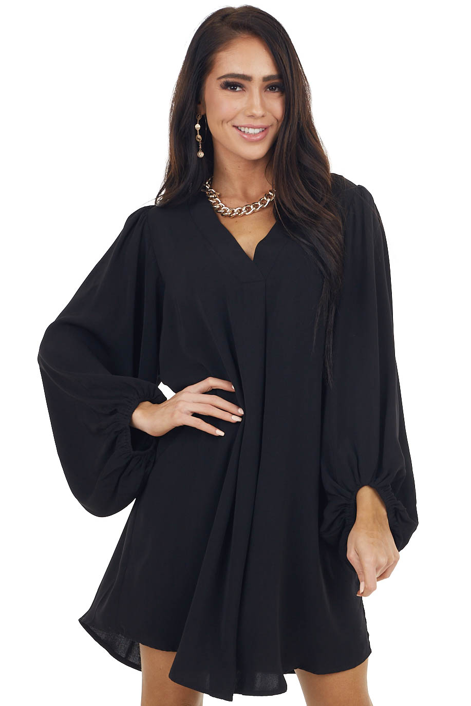 Black Long Bubble Sleeve V Neck Soft Woven Short Dress
