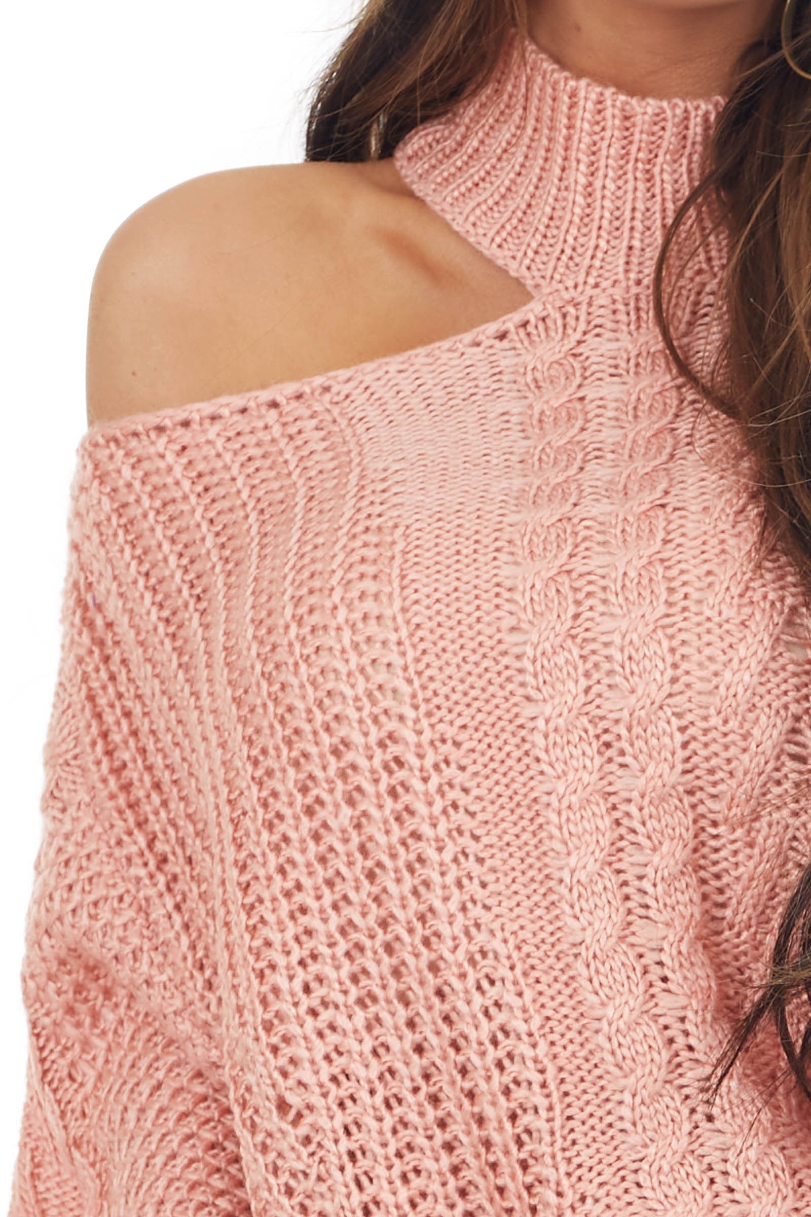 Blush Cable Knit Sweater with Mock Neck and Cold Shoulder