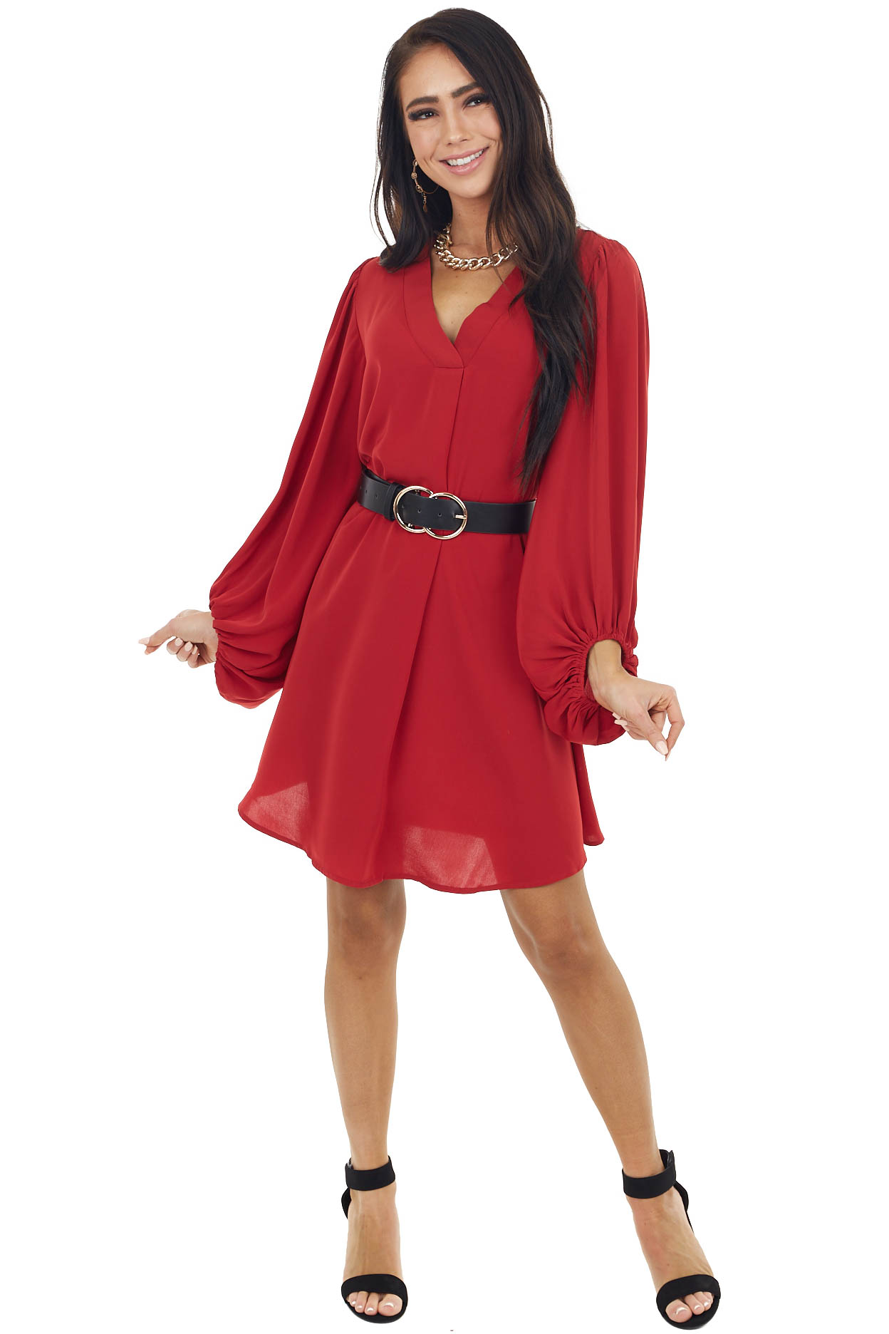 Cherry Red Long Bubble Sleeve V Neck Soft Woven Short Dress