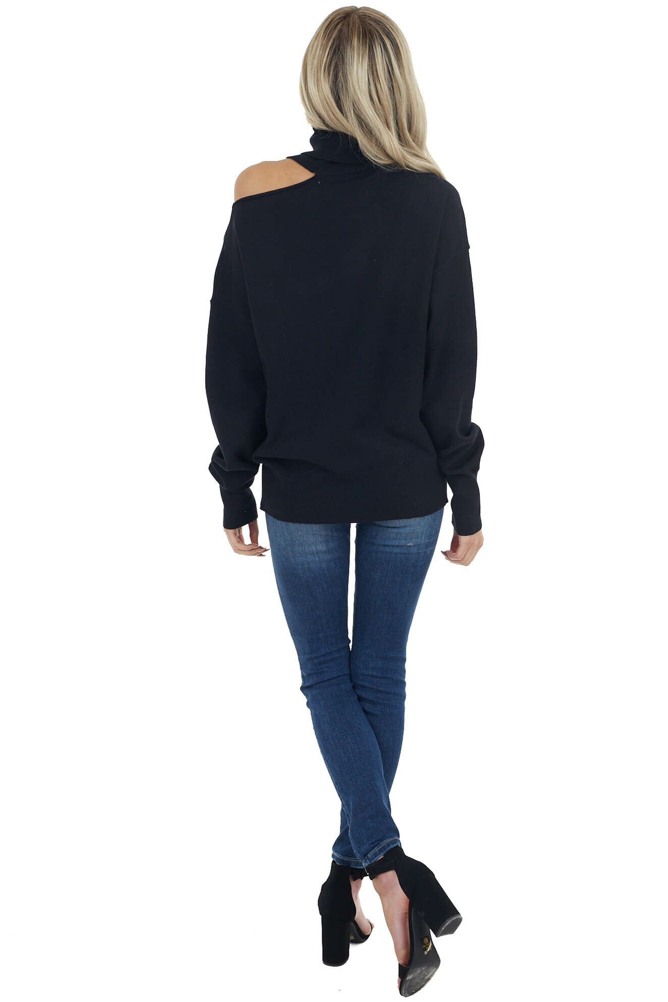 Black Turtleneck Knit Top with Single Shoulder Cutout