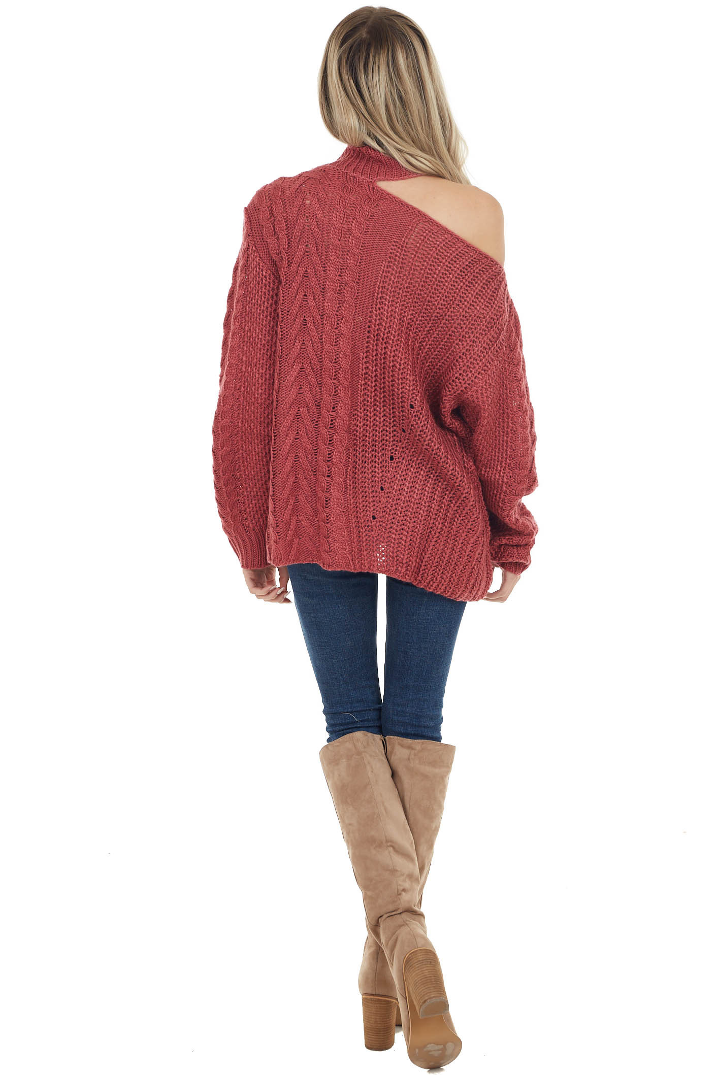Berry Chunky Knit Sweater with Mock Neck and Cold Shoulder