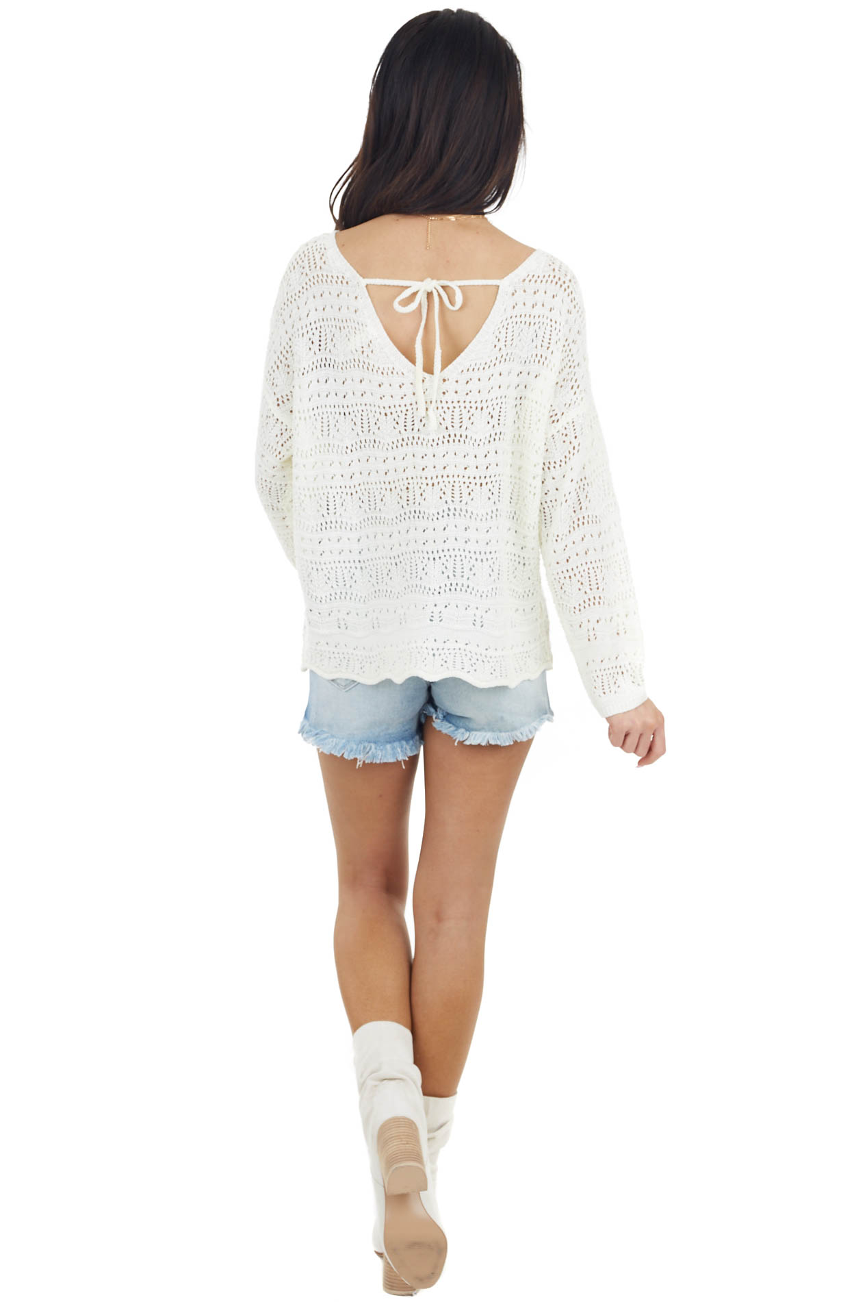 Cream Crochet Sweater with Back Tie and Scalloped Hem