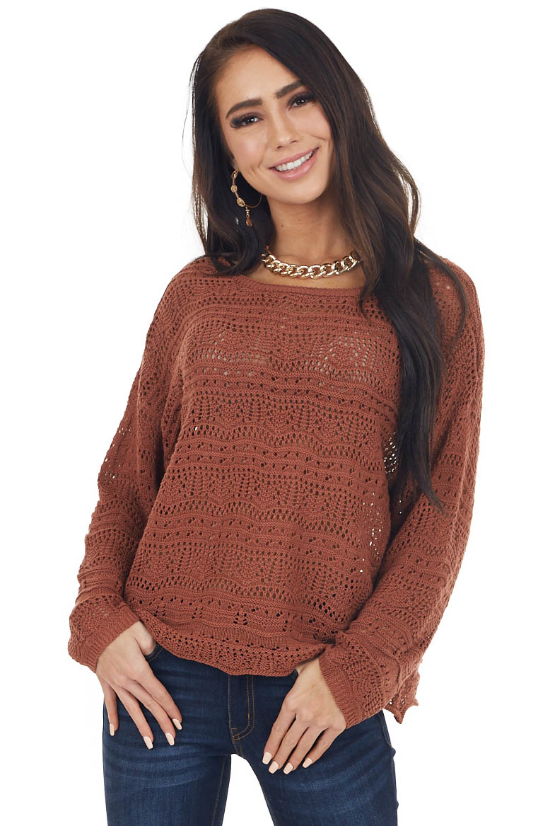 Sienna Crochet Sweater with Back Tie and Scalloped Hem