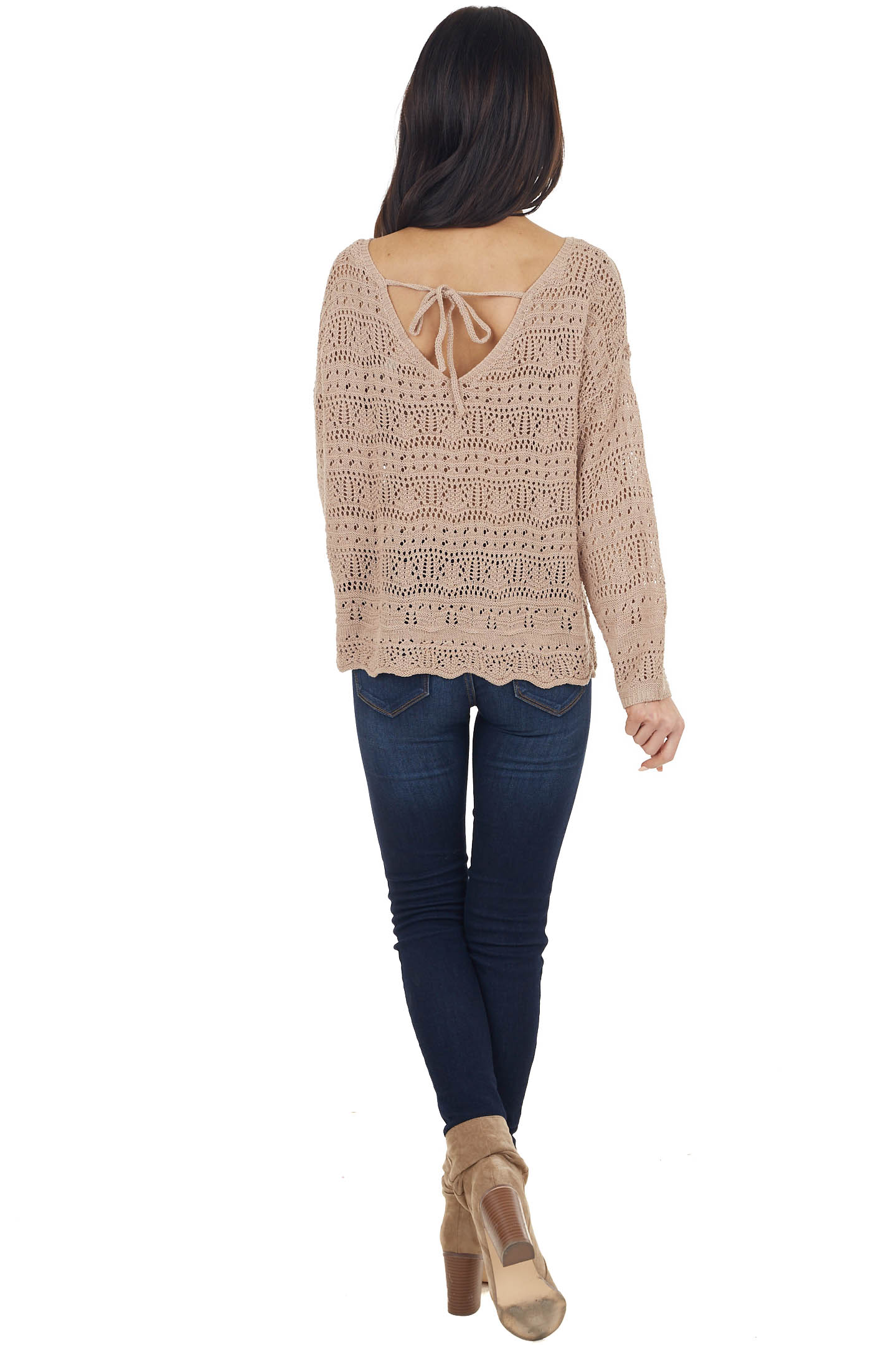 Latte Crochet Sweater with Back Tie and Scalloped Hem