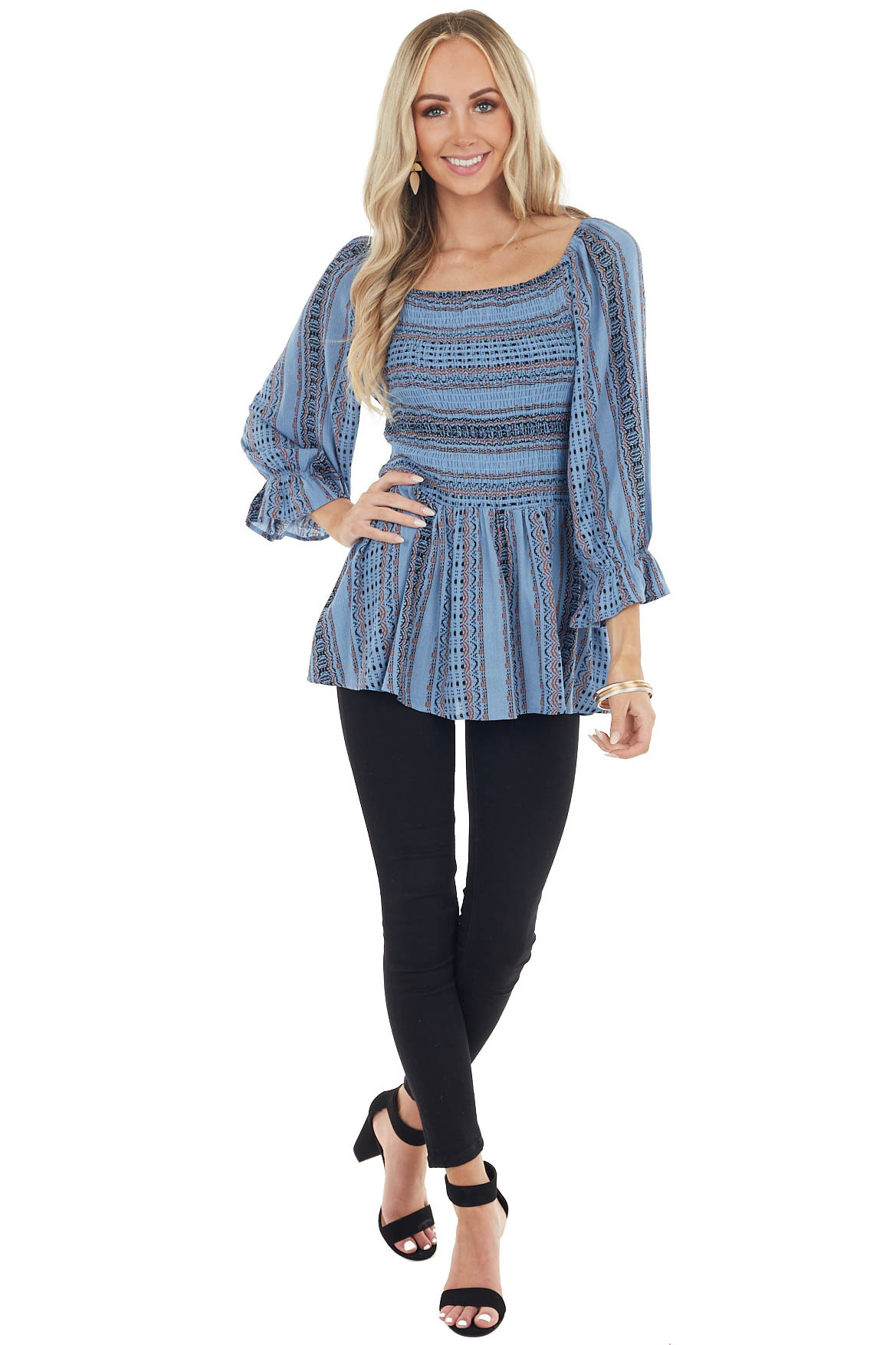 Dusty Blue Abstract Print Long Puff Sleeve Smocked Blouse