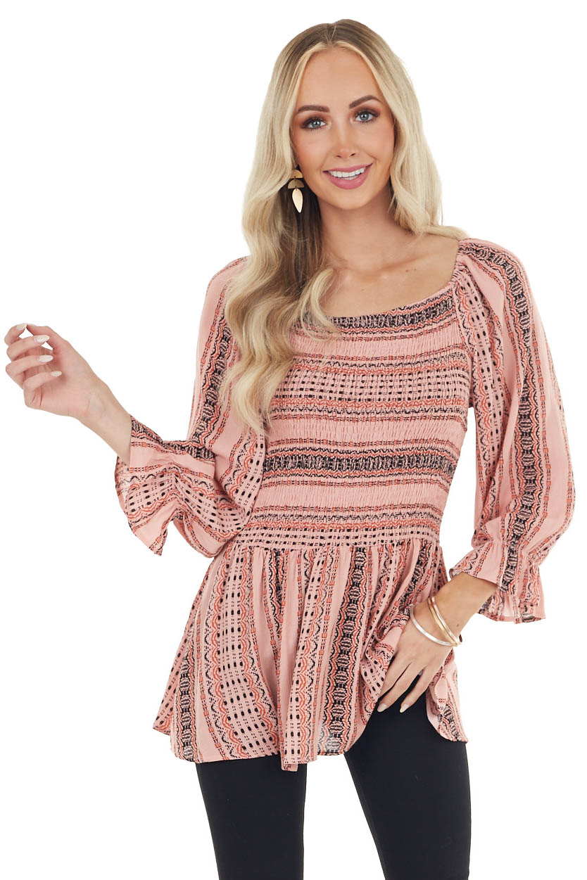 Dusty Coral Abstract Print Long Puff Sleeve Smocked Blouse
