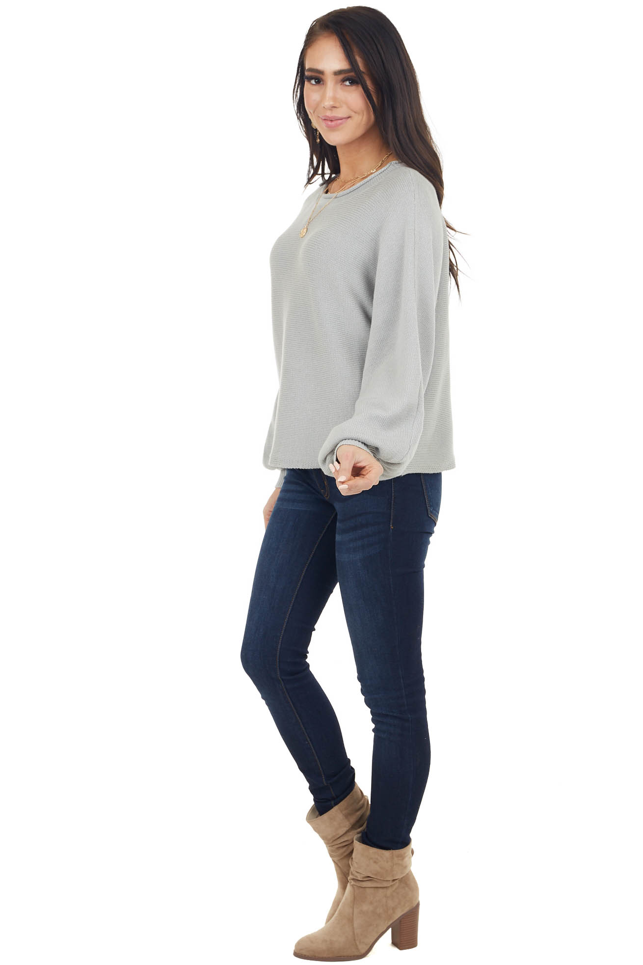 Dove Grey Bubble Sleeve Knit Sweater with Rolled Neckline