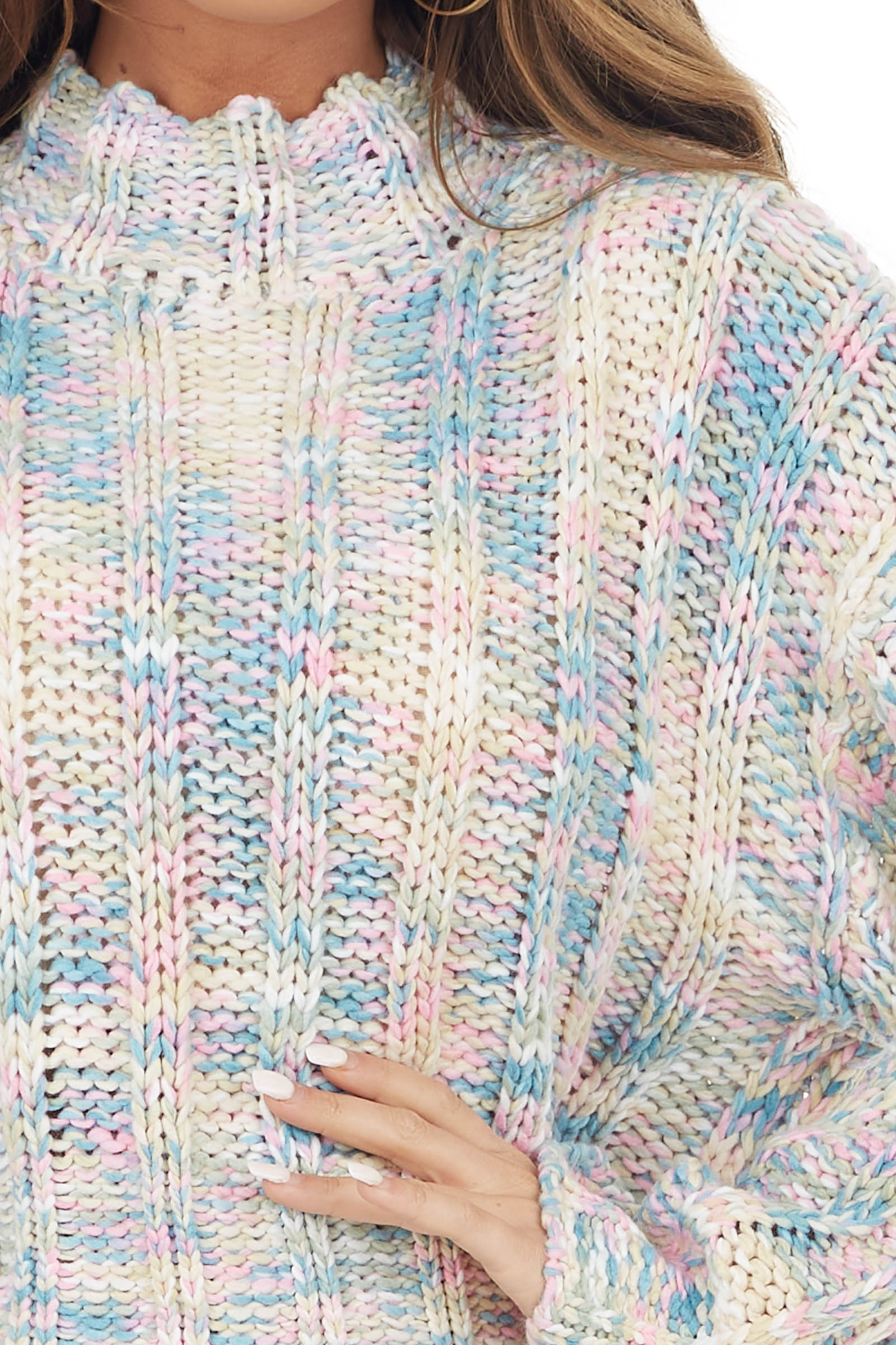 Pastel Multicolor Chunky Knit Mock Neck Cropped Sweater