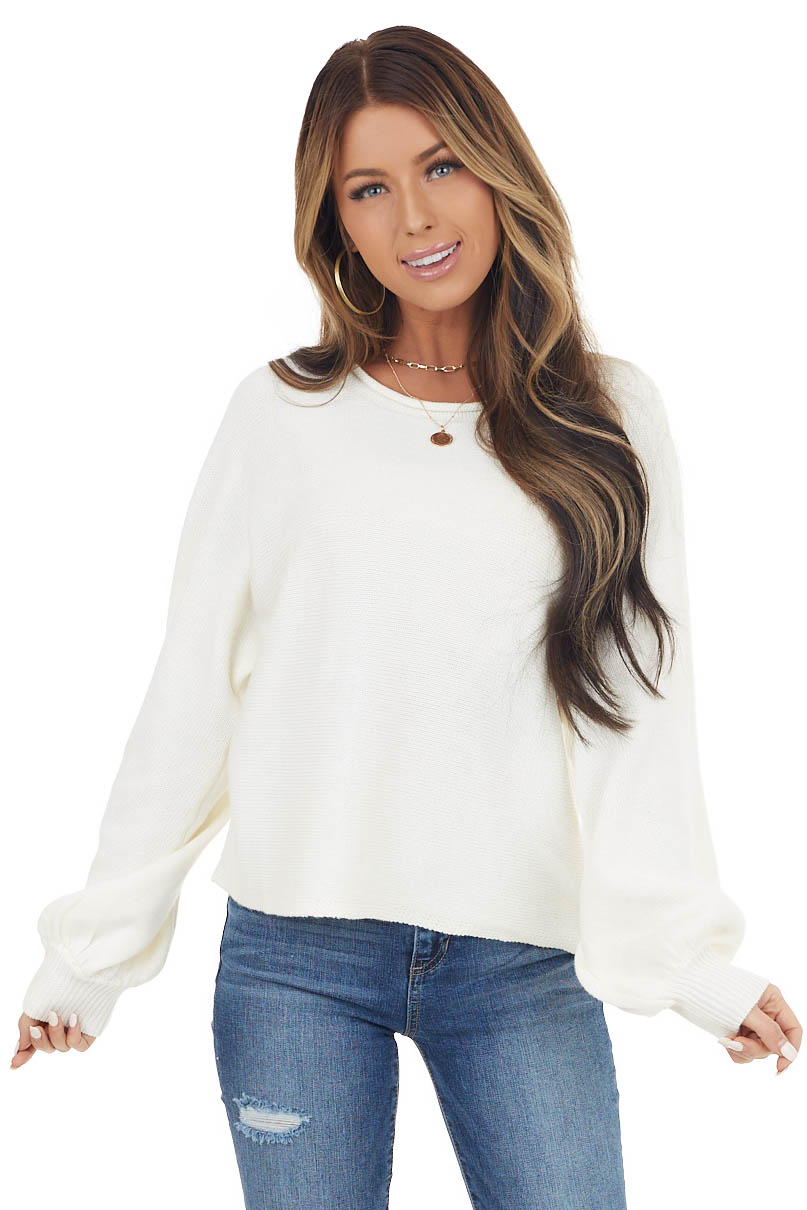 Cream Bubble Sleeve Knit Sweater with Rolled Neckline