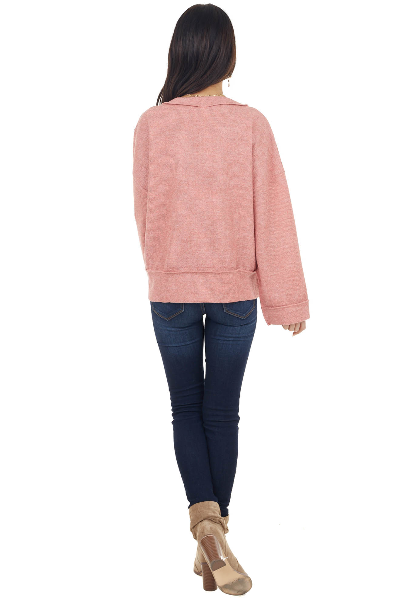 Light Punch V Neck Long Sleeve Top with Side Slits