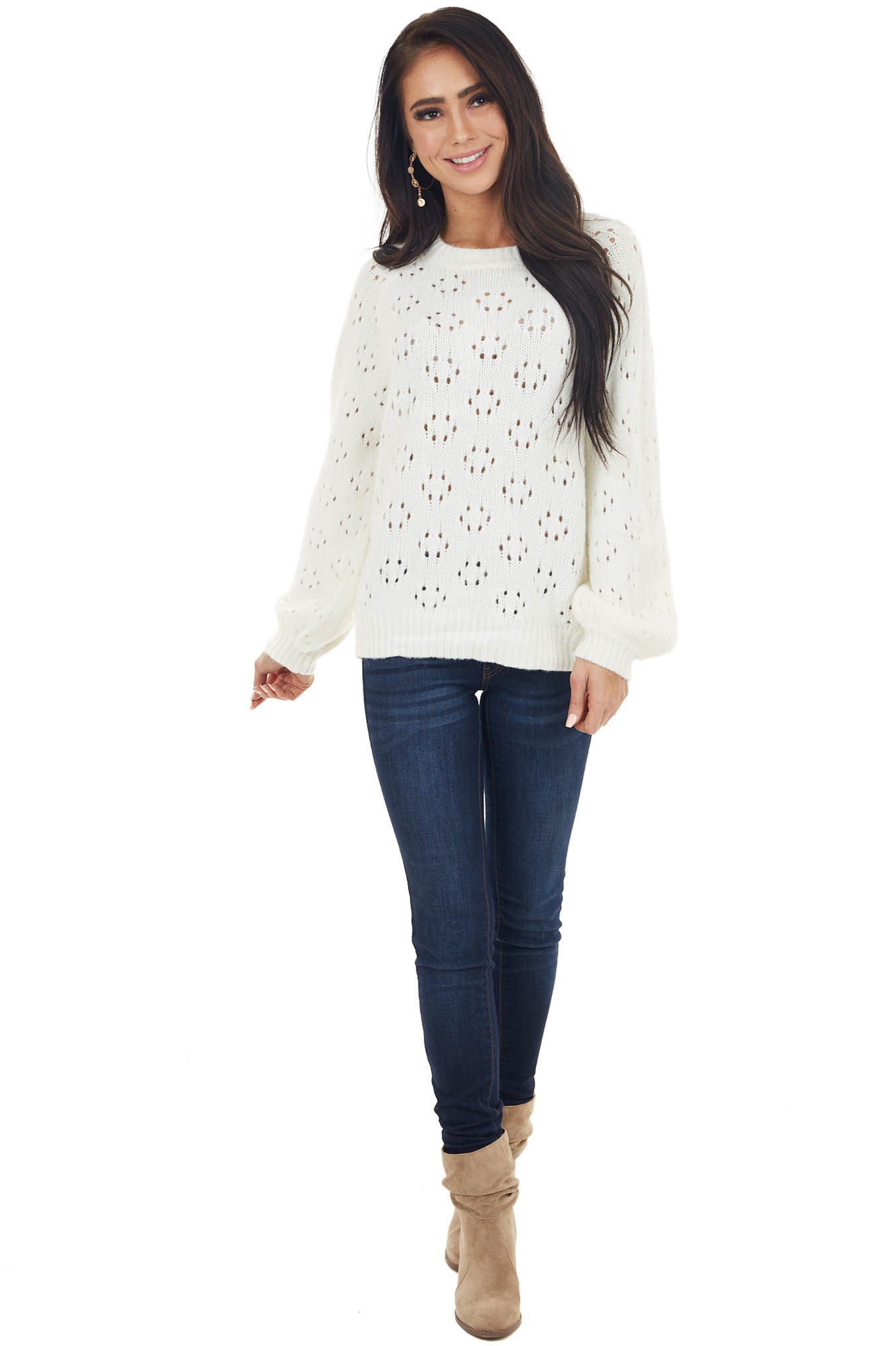 Cream Super Soft Bubble Sleeve Sweater with Cutout Details