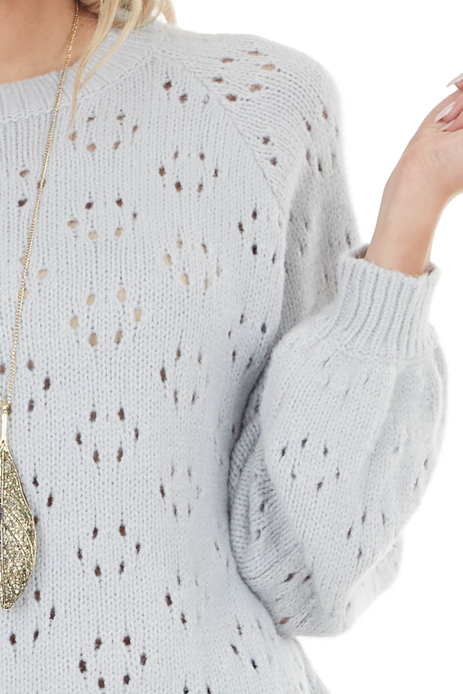 Cloud Grey Soft Bubble Sleeve Sweater with Cutout Details