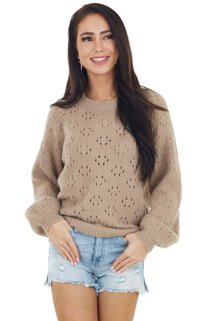 Taupe Super Soft Bubble Sleeve Sweater with Cutout Details