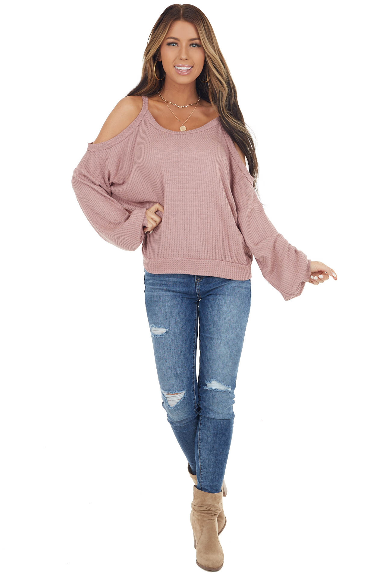 Mauve Cold Shoulder Long Sleeve Top with Back Cut Out