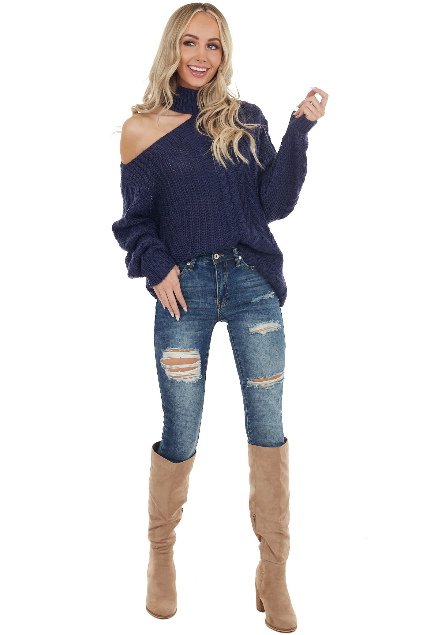 Navy Chunky Knit Sweater with Mock Neck and Cold Shoulder