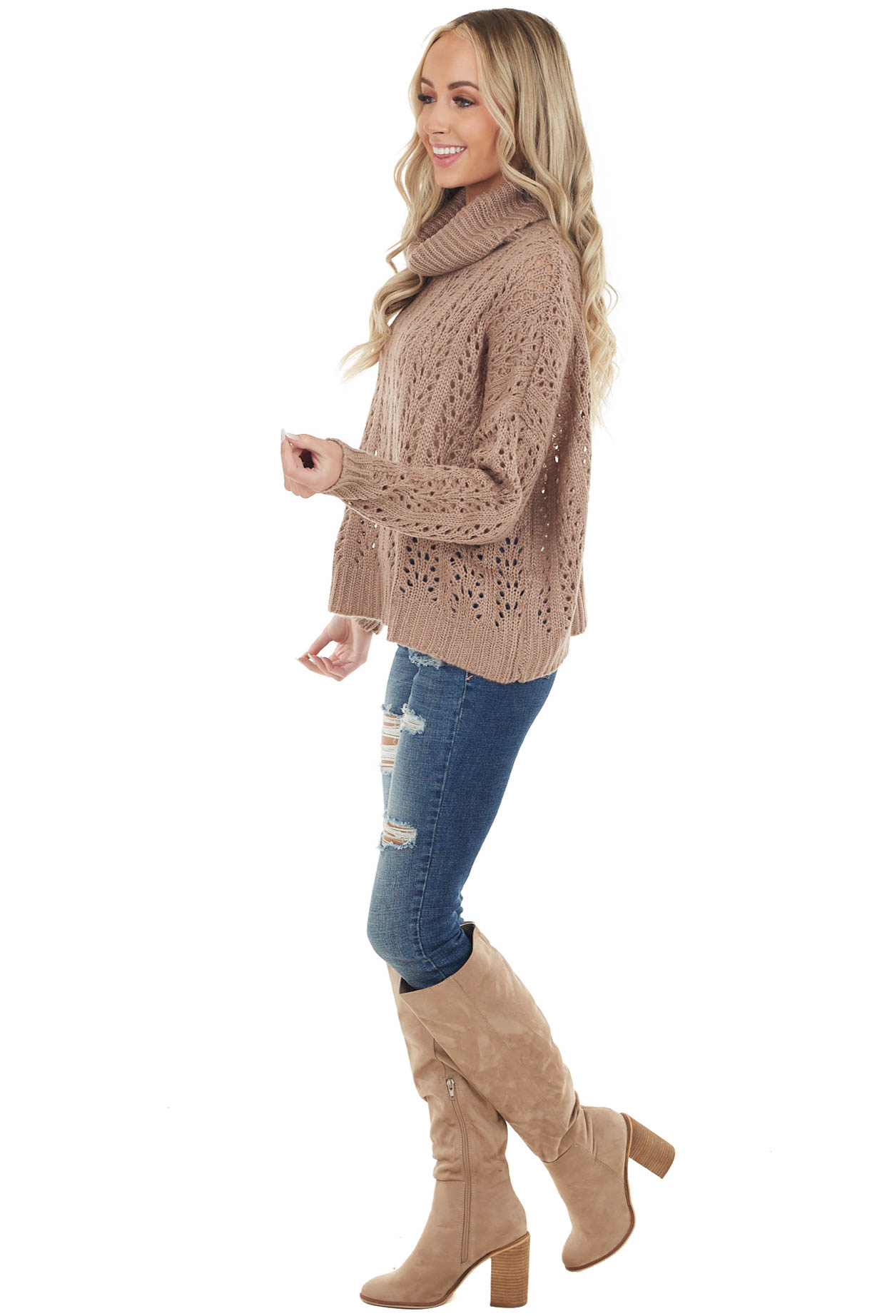 Mocha Loose Knit Long Sleeve Sweater with Cowl Neck