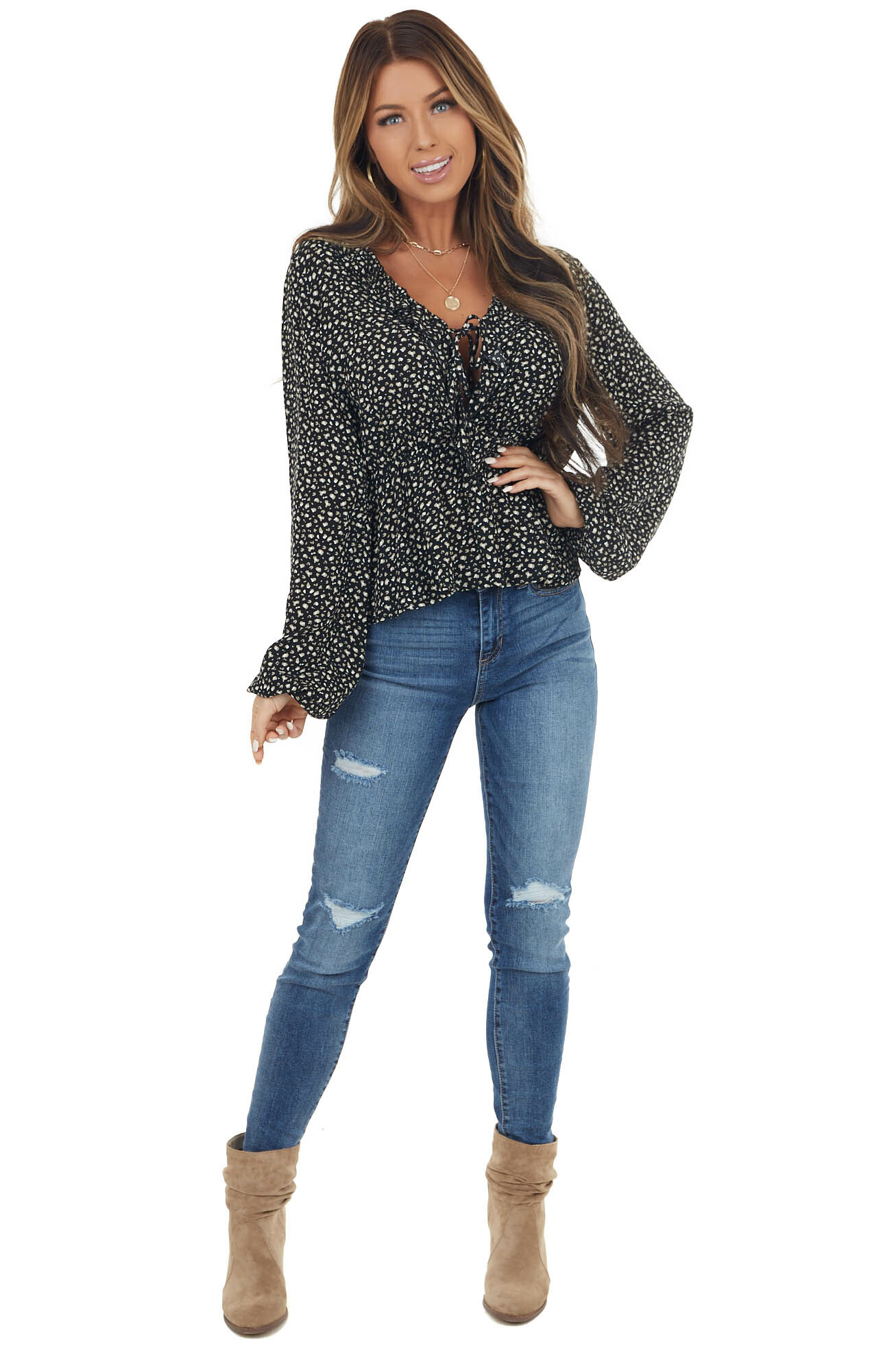 Black Leopard Print Ruffle Drop Waist Blouse with Front Tie