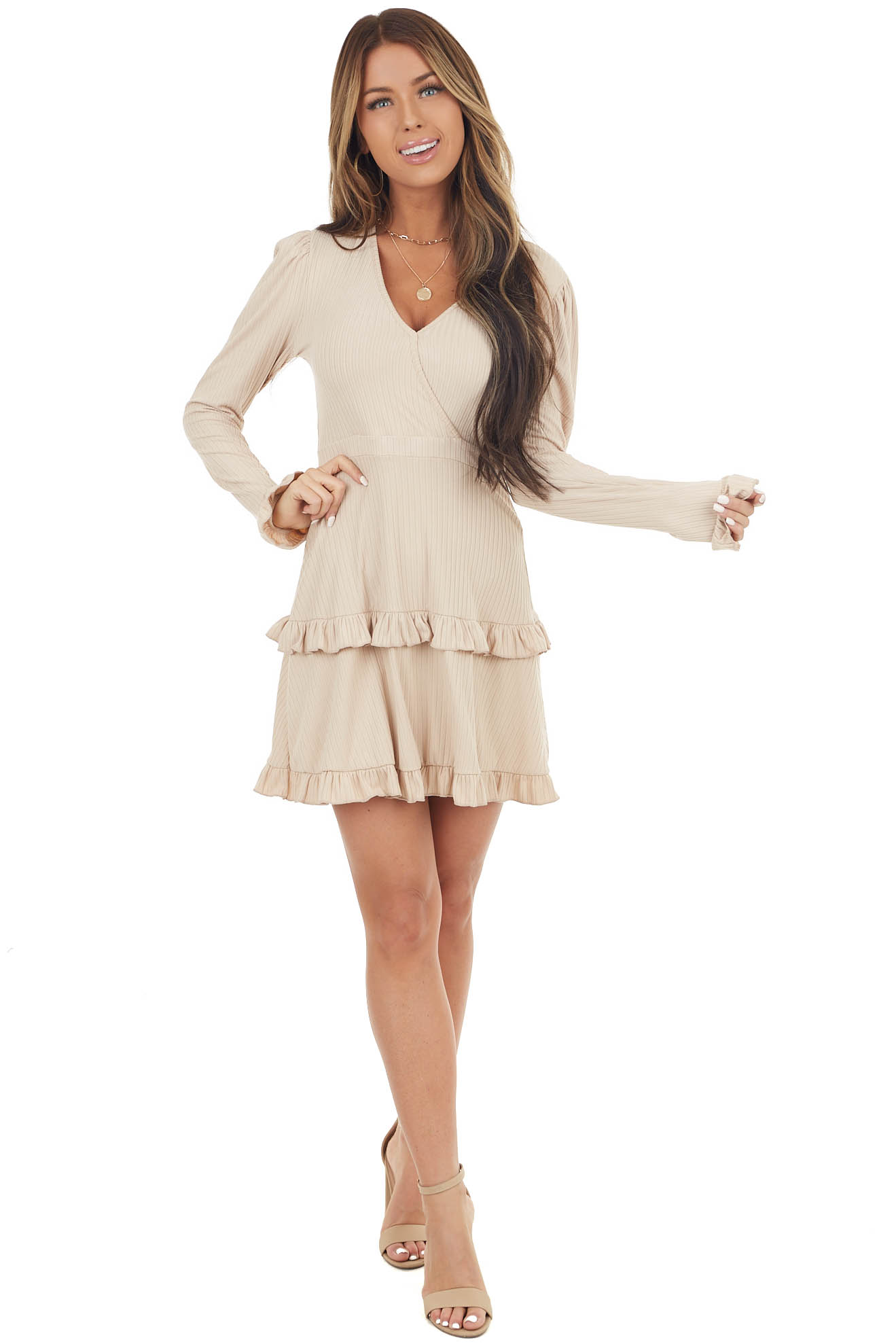 Oatmeal Ribbed Mini Ruffle Dress with Surplice Top