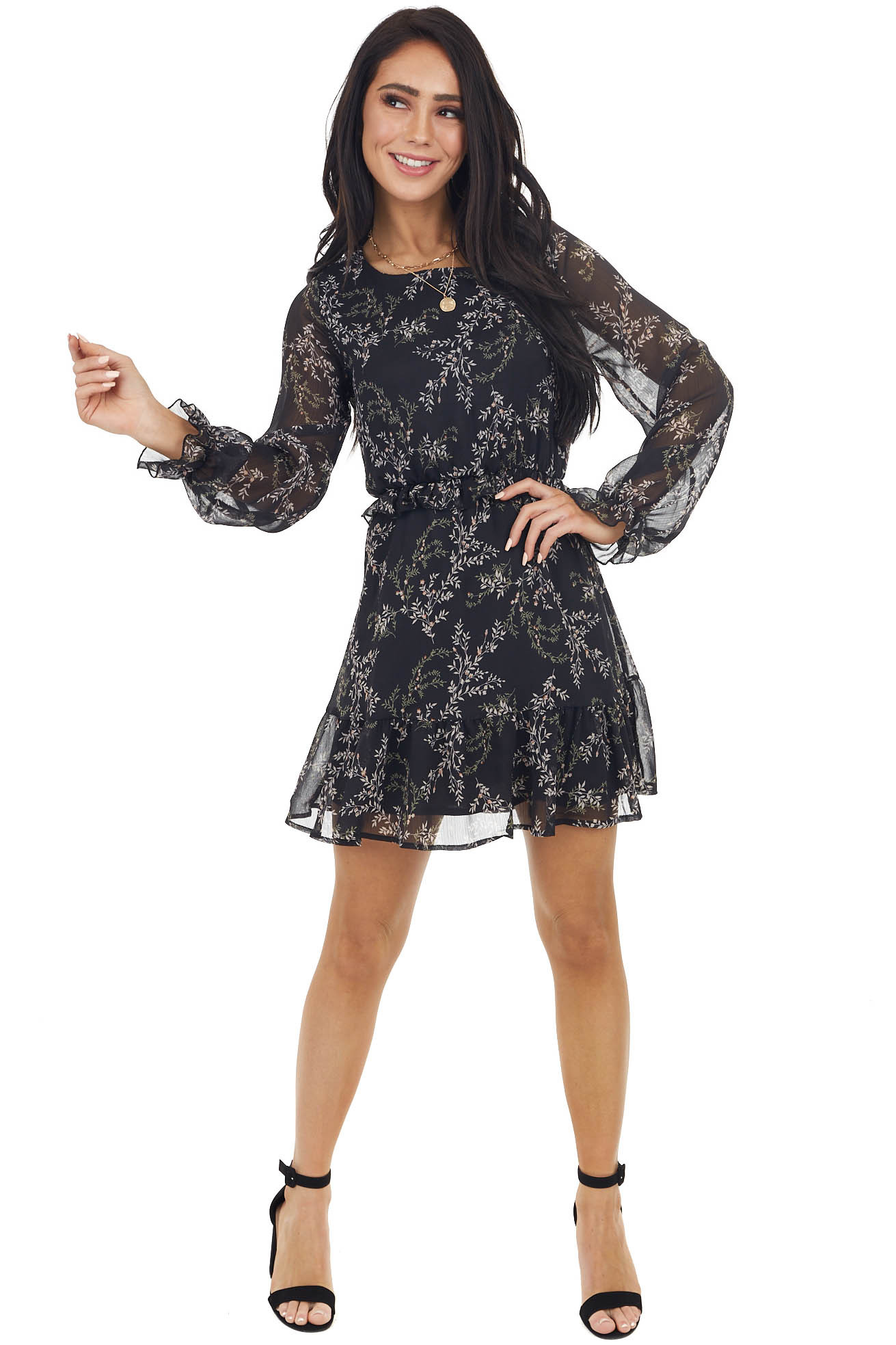 Black Floral Print Ruffle Mini Dress with Cinch Waist
