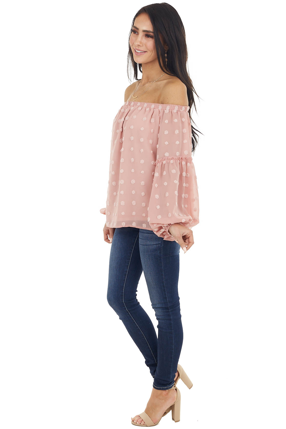 Dusty Blush Off the Shoulder Blouse with Swiss Dots