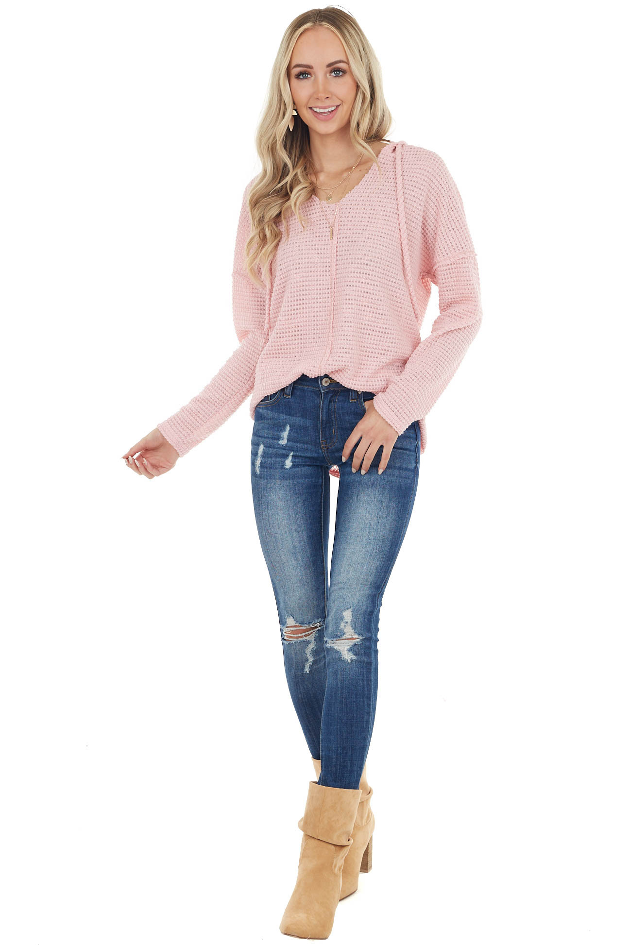Blush Stretchy Waffle Knit Top with Drawstring Hood