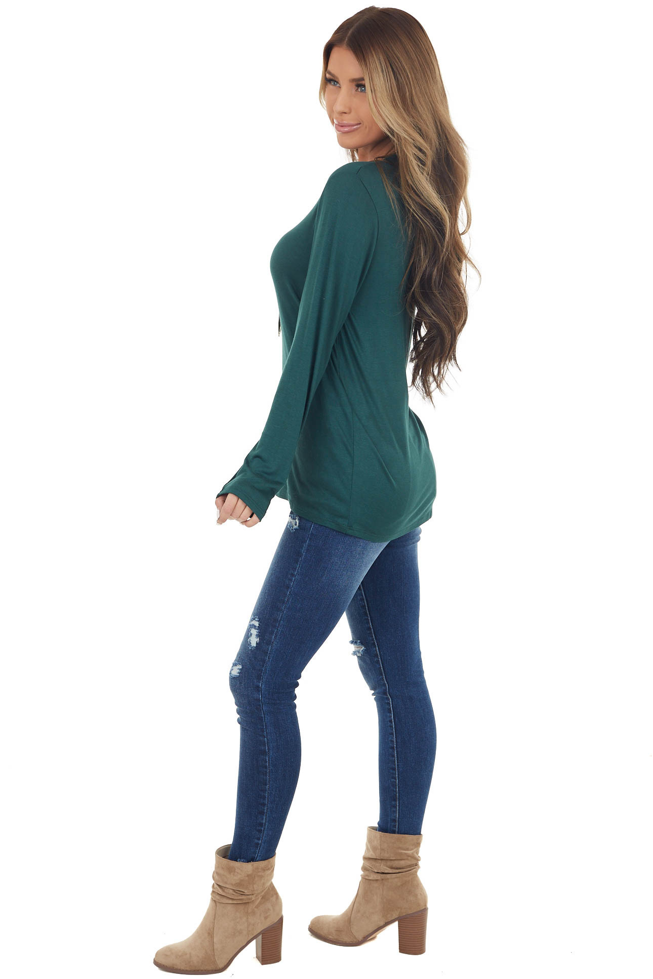 Dark Pine Long Sleeve Knit Top with One Caged Cold Shoulder