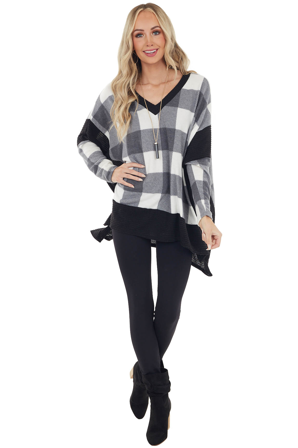 Charcoal Buffalo Plaid Oversized Dolman Sleeve Knit Top