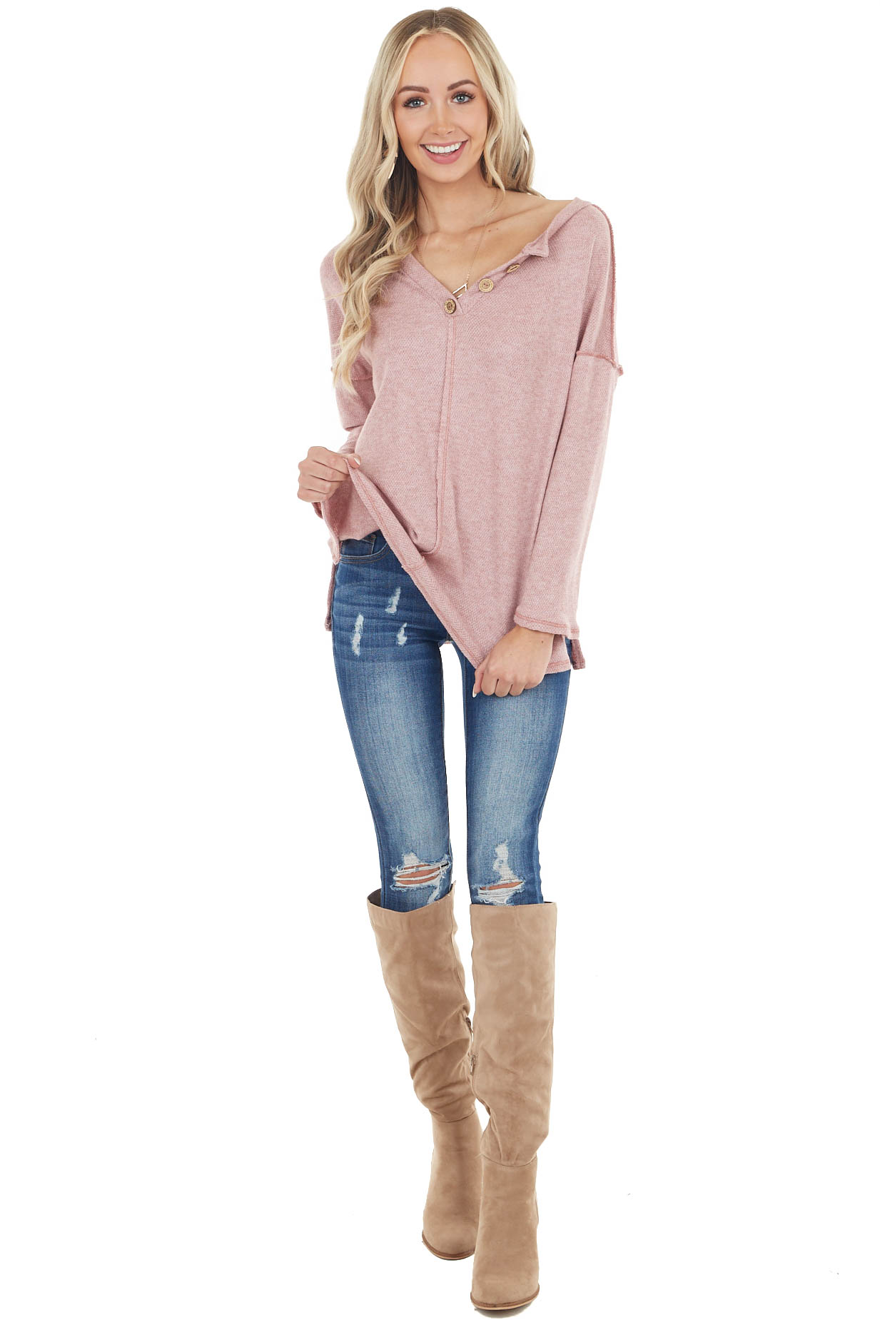 Heathered Dusty Blush Henley Top with Reversed Seam Details