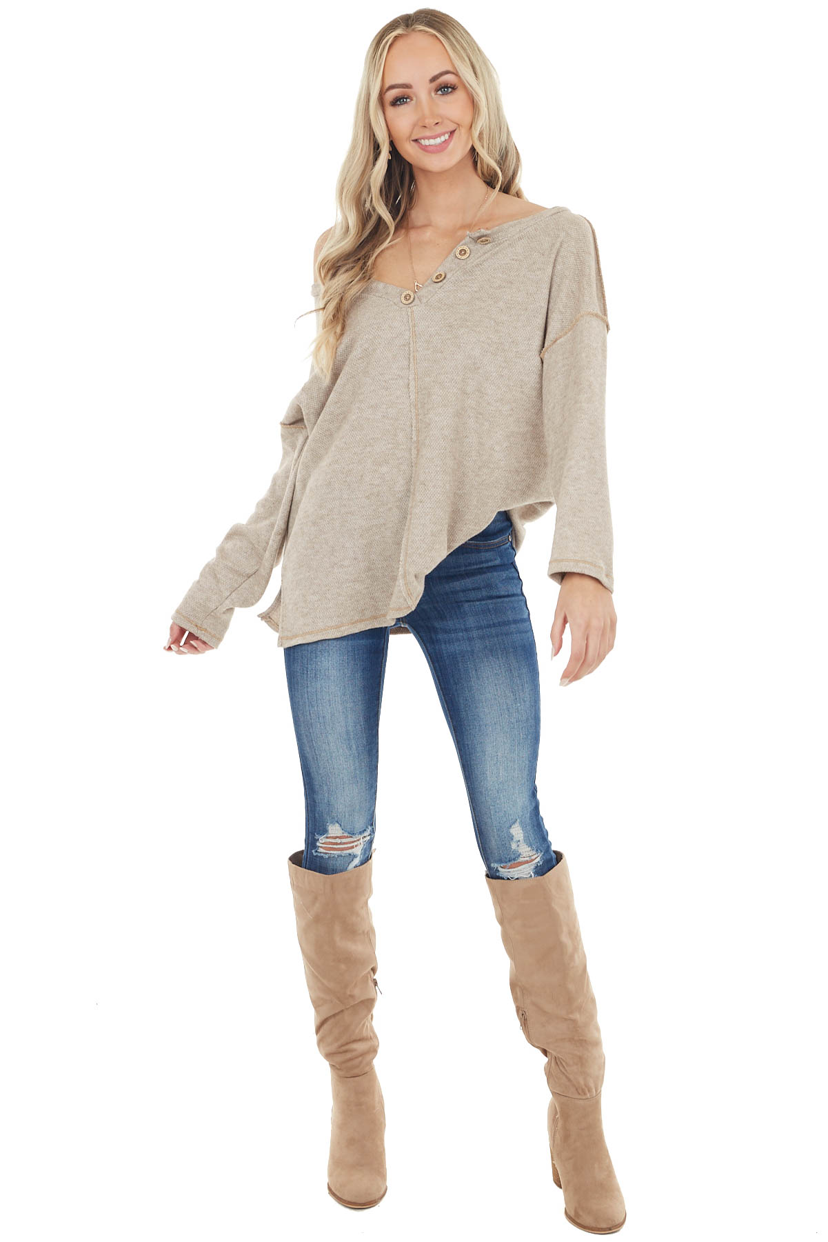 Heathered Oatmeal Henley Top with Reversed Seam Details